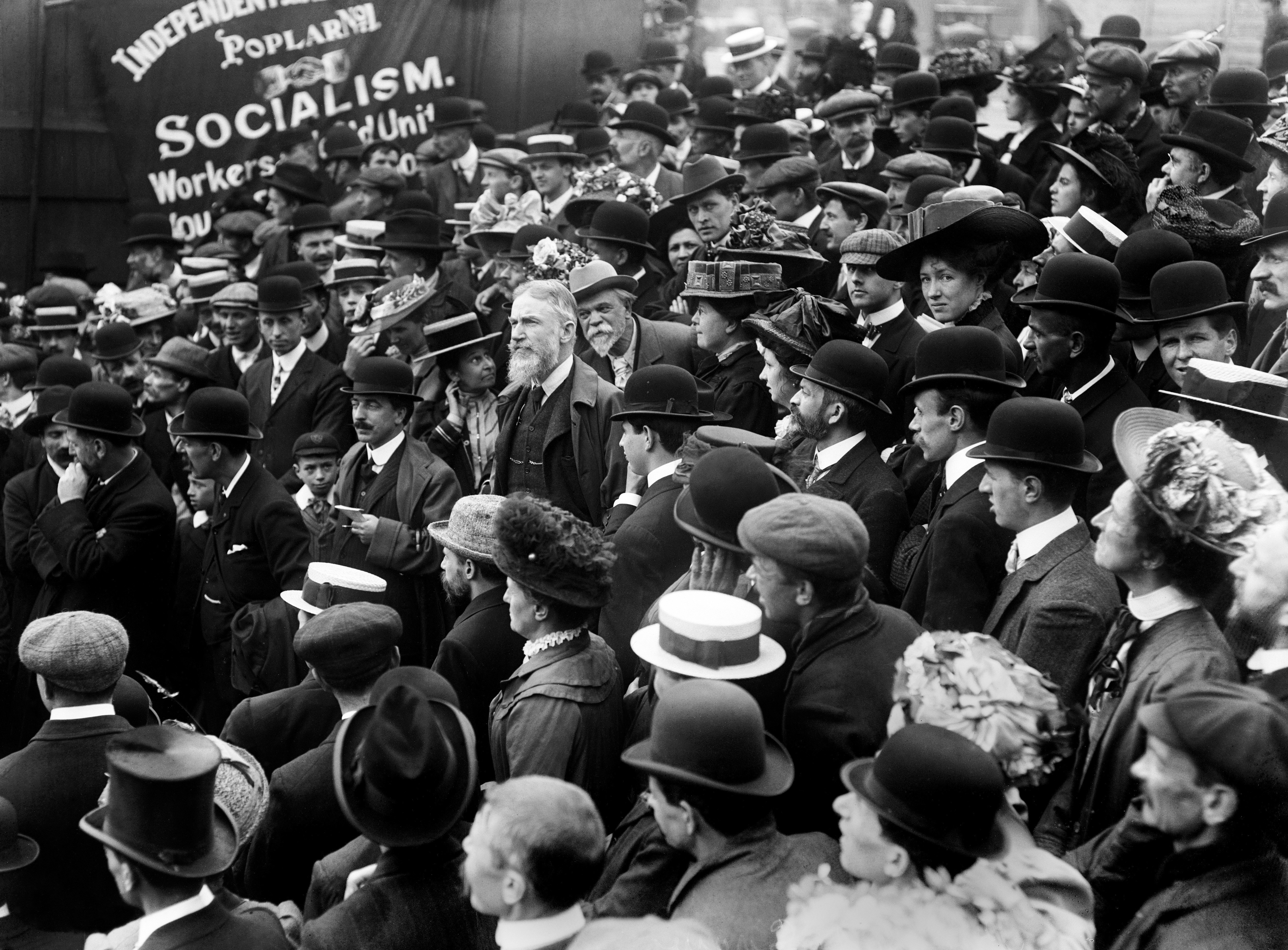 A face in the crowd, George Bernard Shaw (centre/beard), Irish dramatist and critic at an anti-vivisection protest at the Square. He was an active socialist and became a member of the Fabian Society, c1910.