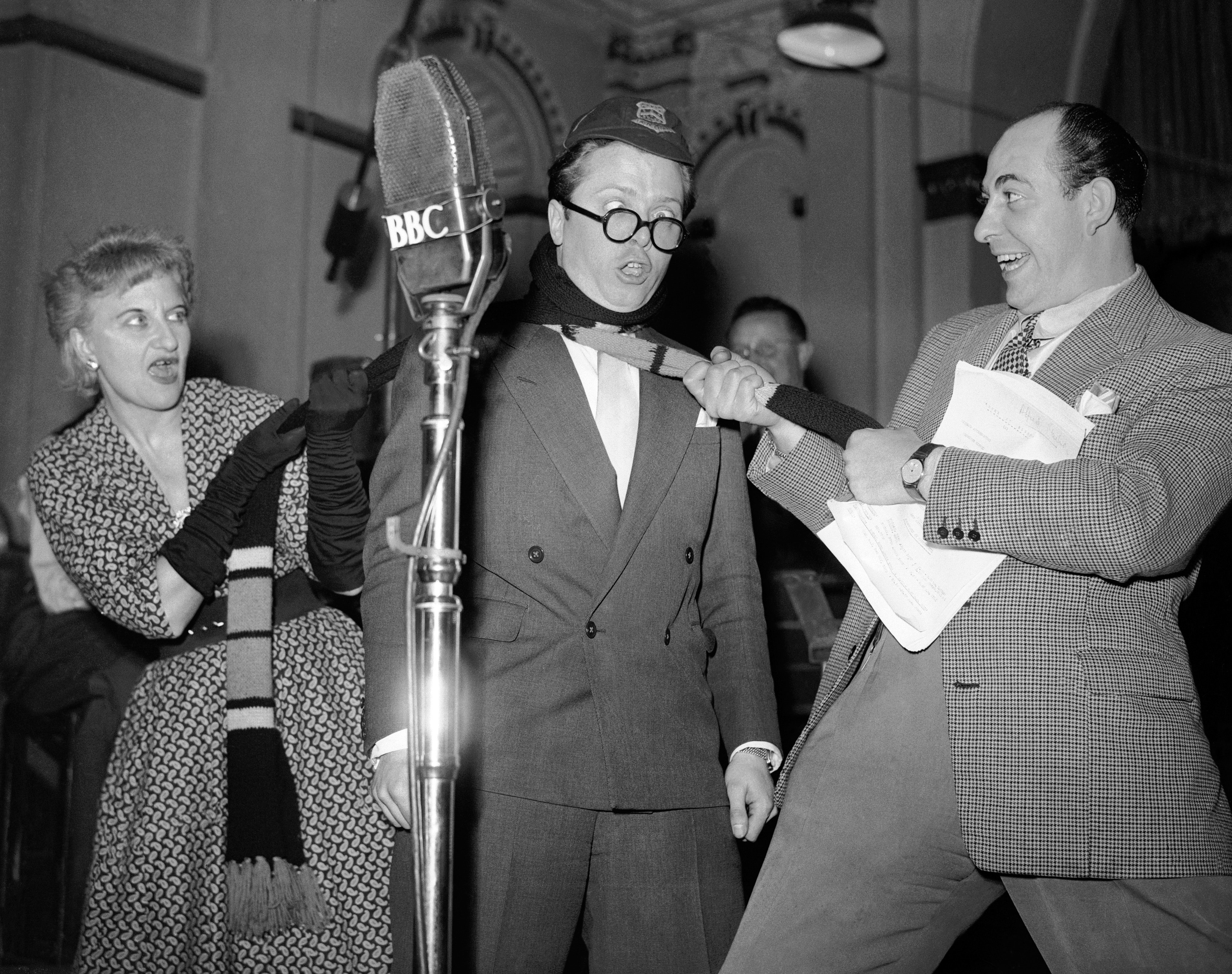 Hermione Gingold, Richard Attenborough and Alfred Marks recording the BBC radio show 'Home at Eight', 1952.