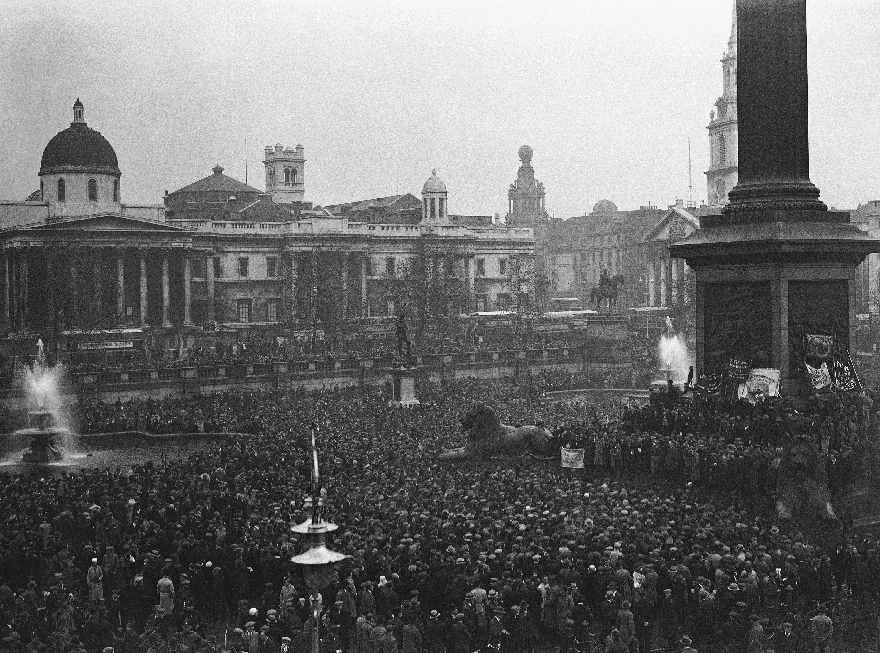 Thousands and thousands of unemployed people from all over England, assembled in Trafalgar Square for a demonstration on Oct. 30, 1932