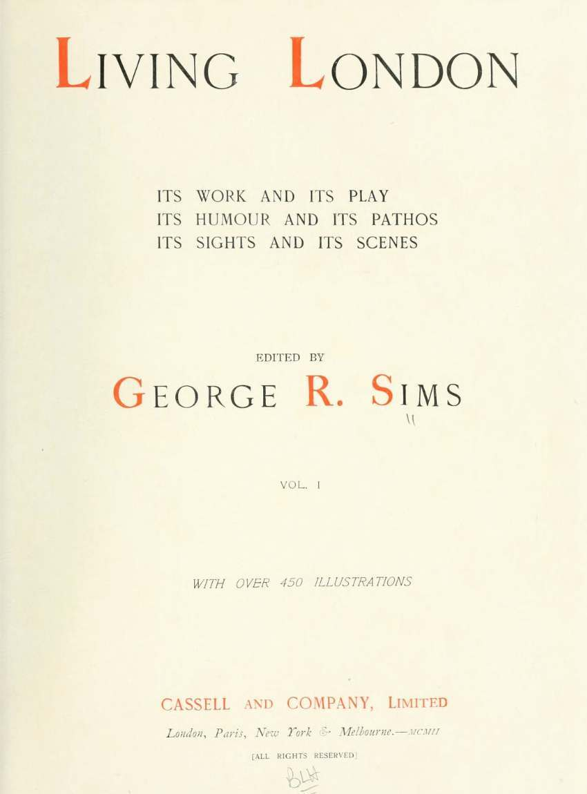 Inside cover of George R. Sims 'Living London'.