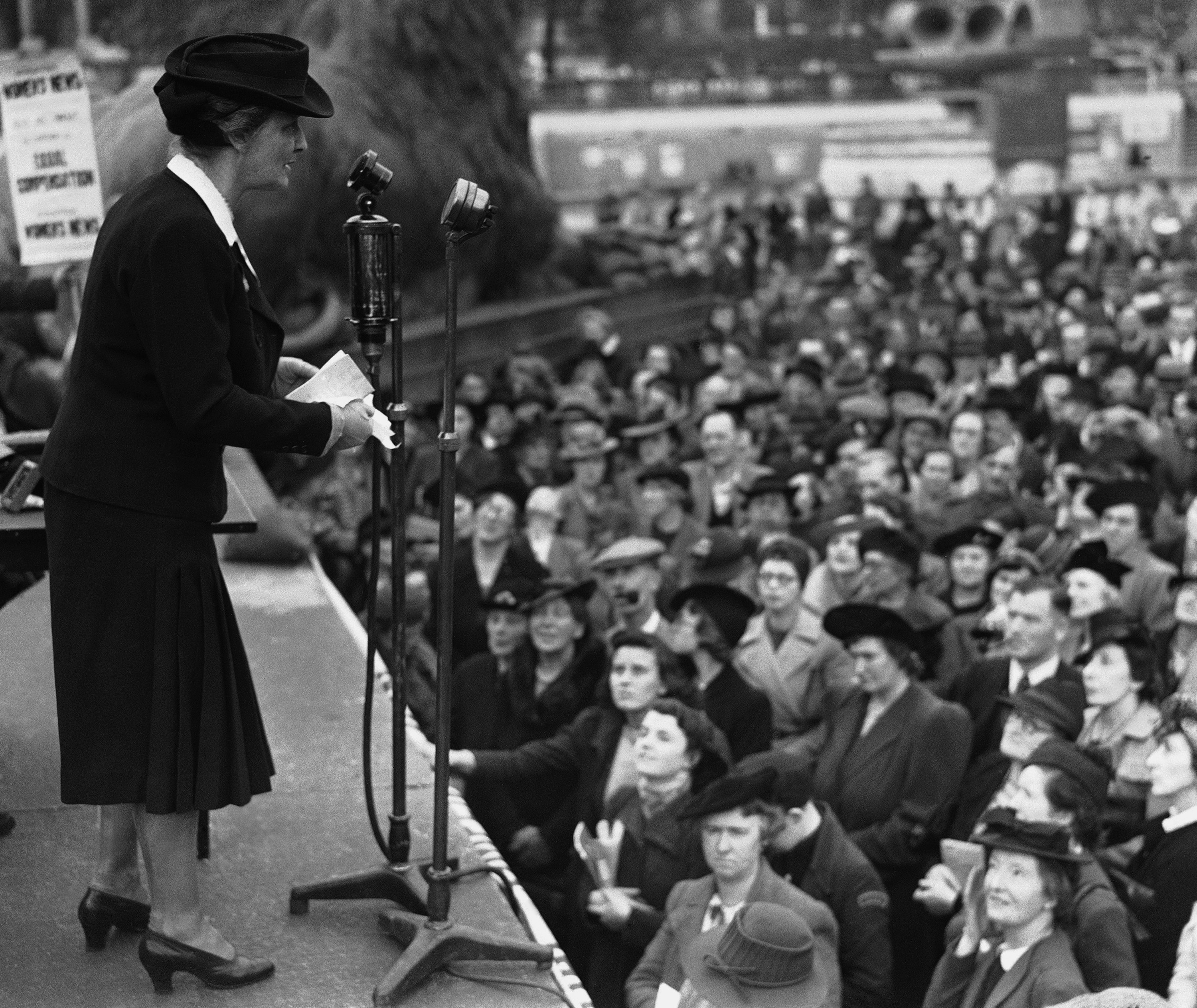 Lady Nancy Astor Member of Parliament, speaking at a mass meeting in Trafalgar Square in London on Sept. 20, 1941, to demand Equal war injury compensation for men and woman.
