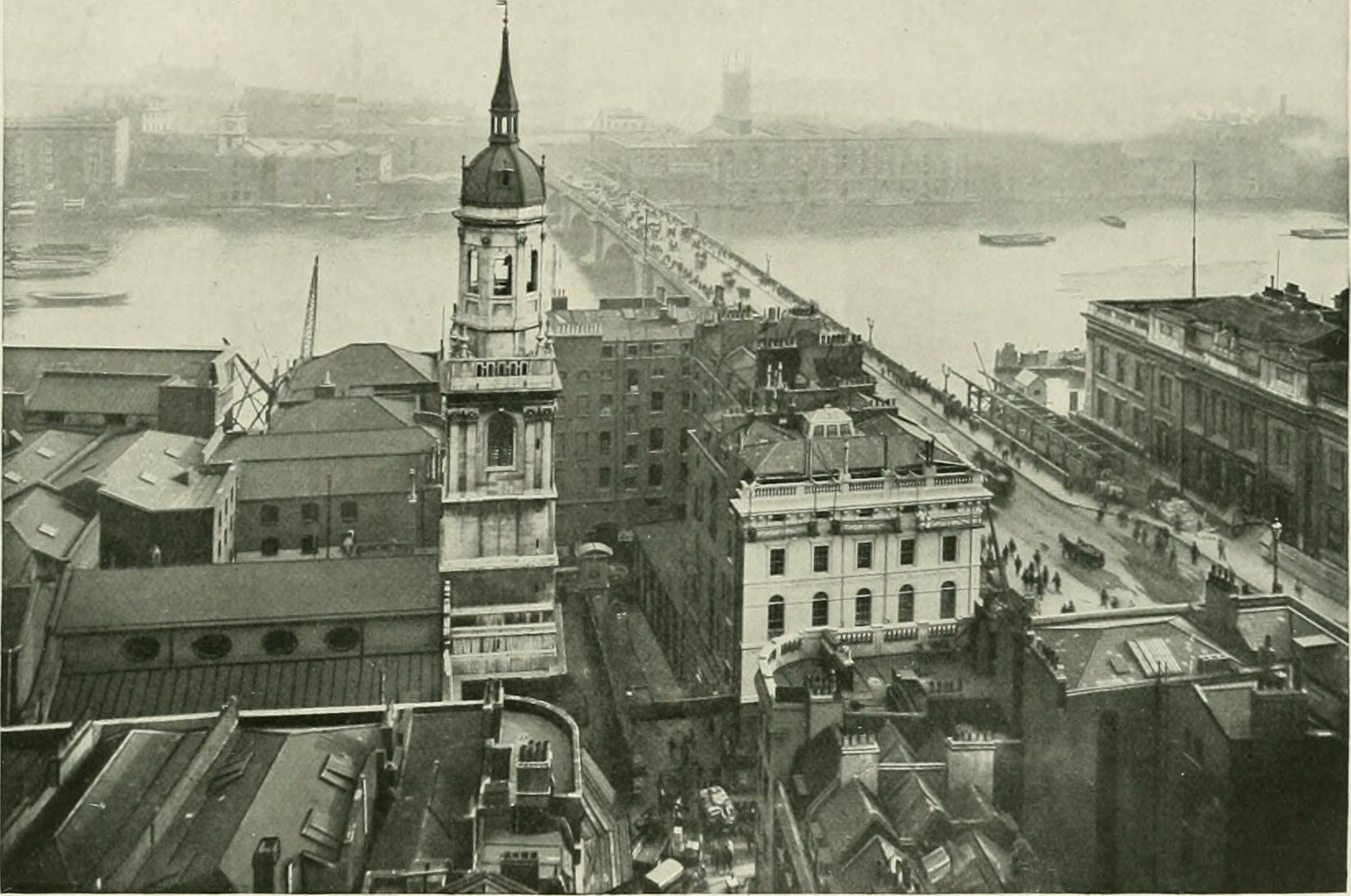 London Bridge and the river seen from the top of the Monument.
