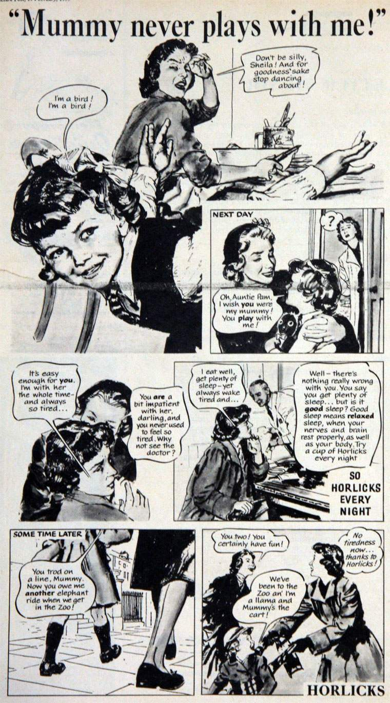 Mummy Never Plays with Me Horlicks ad 1955