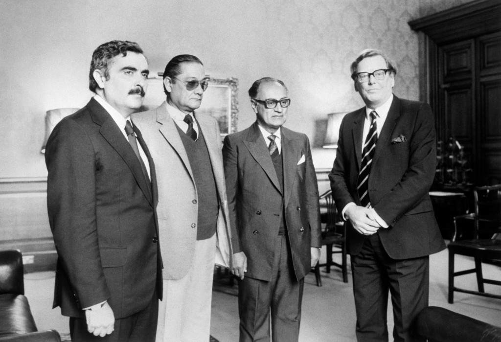 Junior Foreign Office Minister Mr Cranley Onslow (right) receiving three Argentinians, representing families of servicemen missing since the Falklands conflict, at the Foreign Office. (l-r) Juan Carlos Legascue (a lawyer from Parana), Isaias Gimenez (also from Parana) and Leonidas Ardiles (uncle to Tottenham Hotspur Footballer Ossie) from Cordoba. Archive-PA204910-1 Ref #: PA.10682985  Date: 07/04/1983