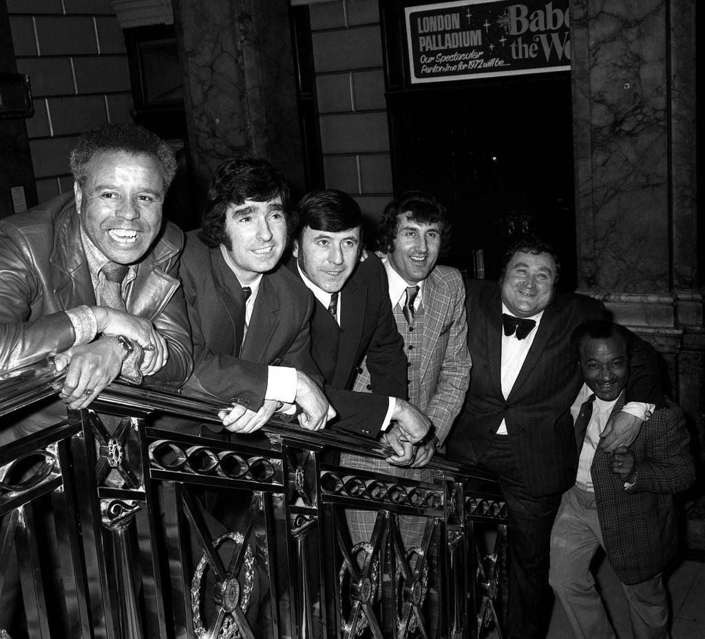 The comedians of the television series The Comedians, who are to appear on stage at the London Palladium for a short season. L-R: Charlie Williams, Ken Goodwin, Mike Reid, Dave Butlet, Bernard Manning and Jos White. Ref #: PA.1323896  Date: 23/02/1972