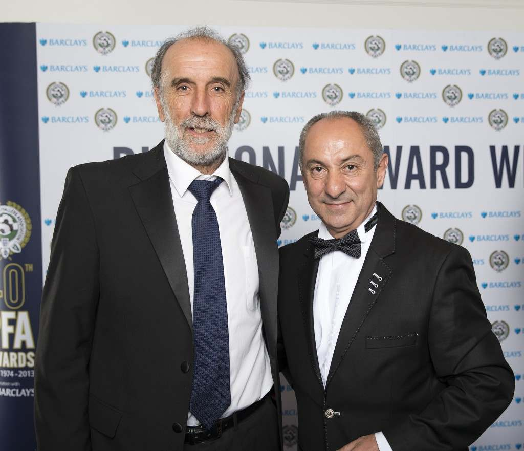 Ricky Villa (left) and Ossie Ardiles (right) during the PFA Player of the Year Awards 2013 at the Grosvenor House Hotel, London. Date: 28/04/2013