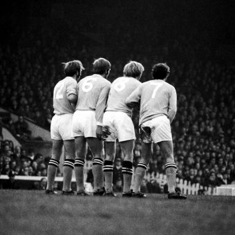 Manchester City V Manchester United 1970: Defensive Wall Arthur Mann, Alan Oakes, Colin Bell, Mike Summerbee