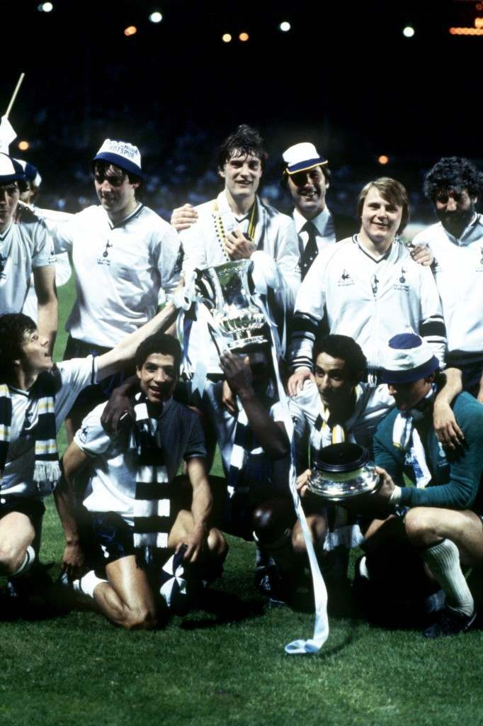Spurs celebrate with the FA Cup after their 3-2 win in the replay: (back row, l-r) Paul Miller, Tony Galvin, Glenn Hoddle, manager Keith Burkinshaw, Gary Brooke, physio Mike Varney; (front row, l-r) Steve Perryman, Chris Hughton, Osvaldo Ardiles, Milija Aleksic. 14/05/1981
