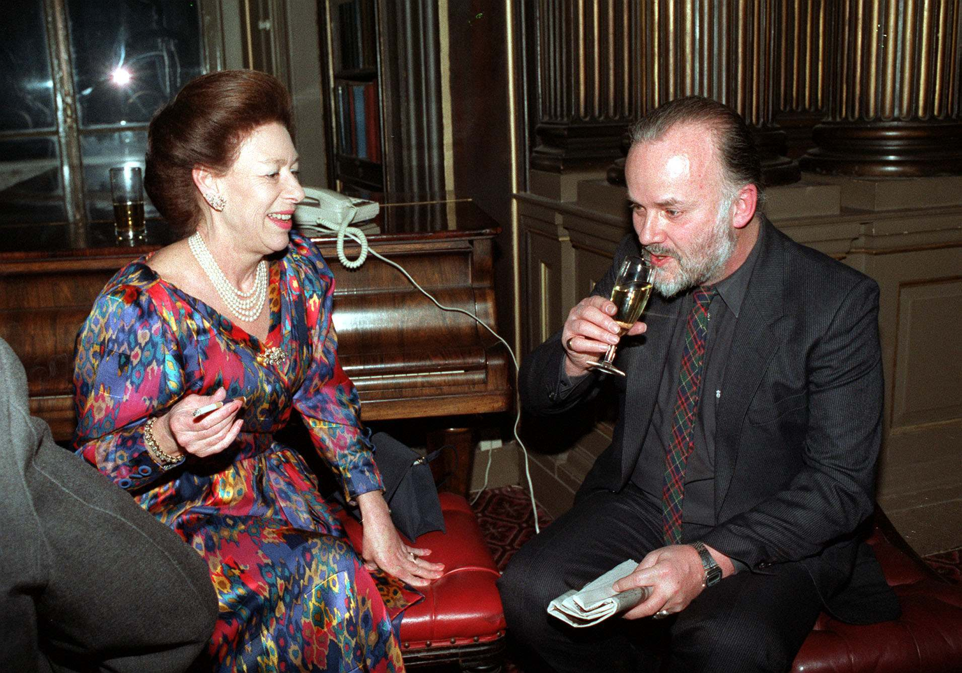 Princess Margaret chatting with John Peel at the Reform Club in 1992. They were there for the 50 year anniversary of Desert Island Discs.