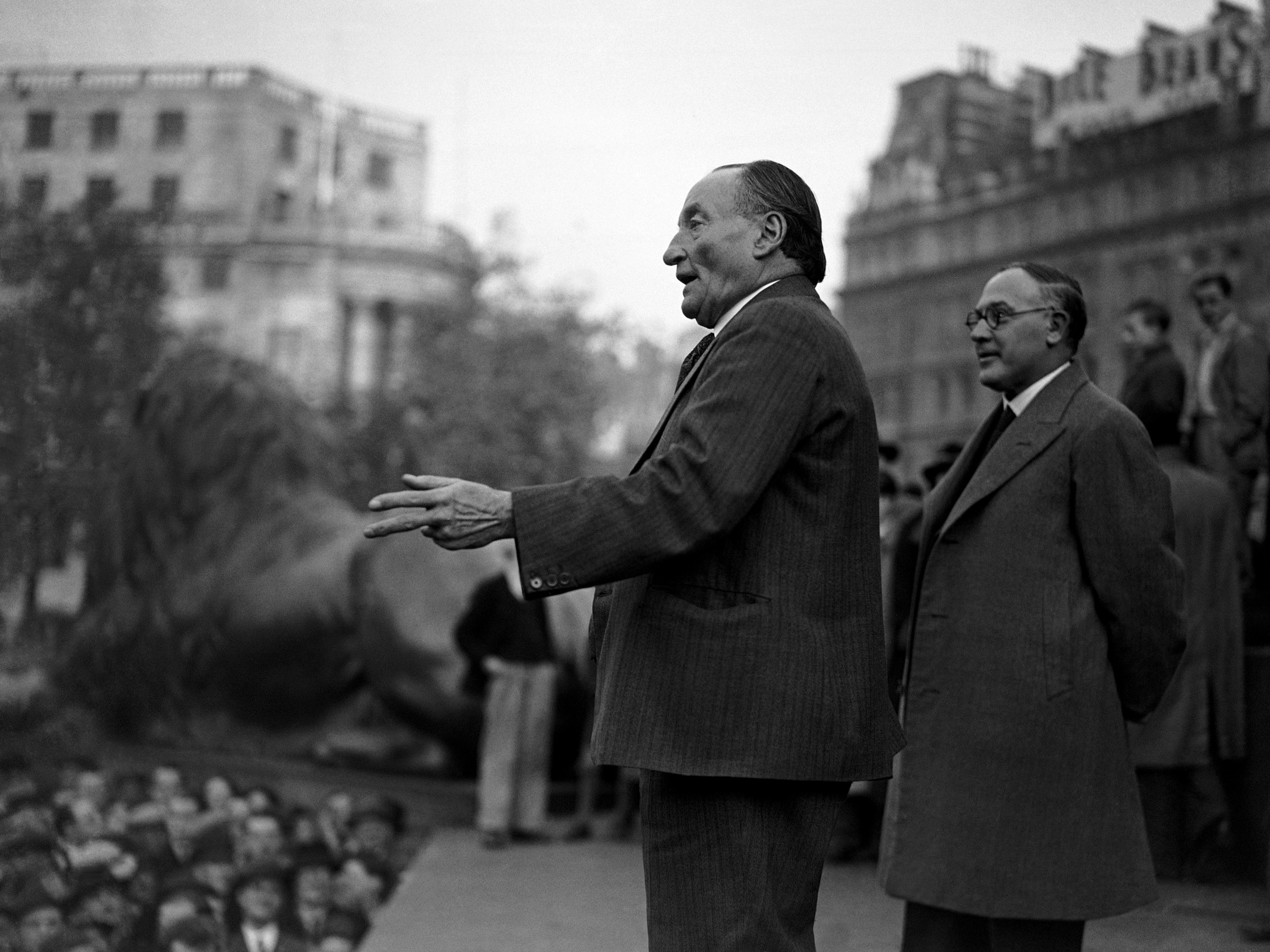 Large crowds spent their Sunday in listening to prominent speakers at a huge mass protest demonstration against Japanese aggression in China, organized in Trafalgar Square by the London labour party and London trades council. Ben Tillett, Veteran labour supporter, addressing the Japanese protest demonstration on Oct. 17, 1937 in Trafalgar Square, London.