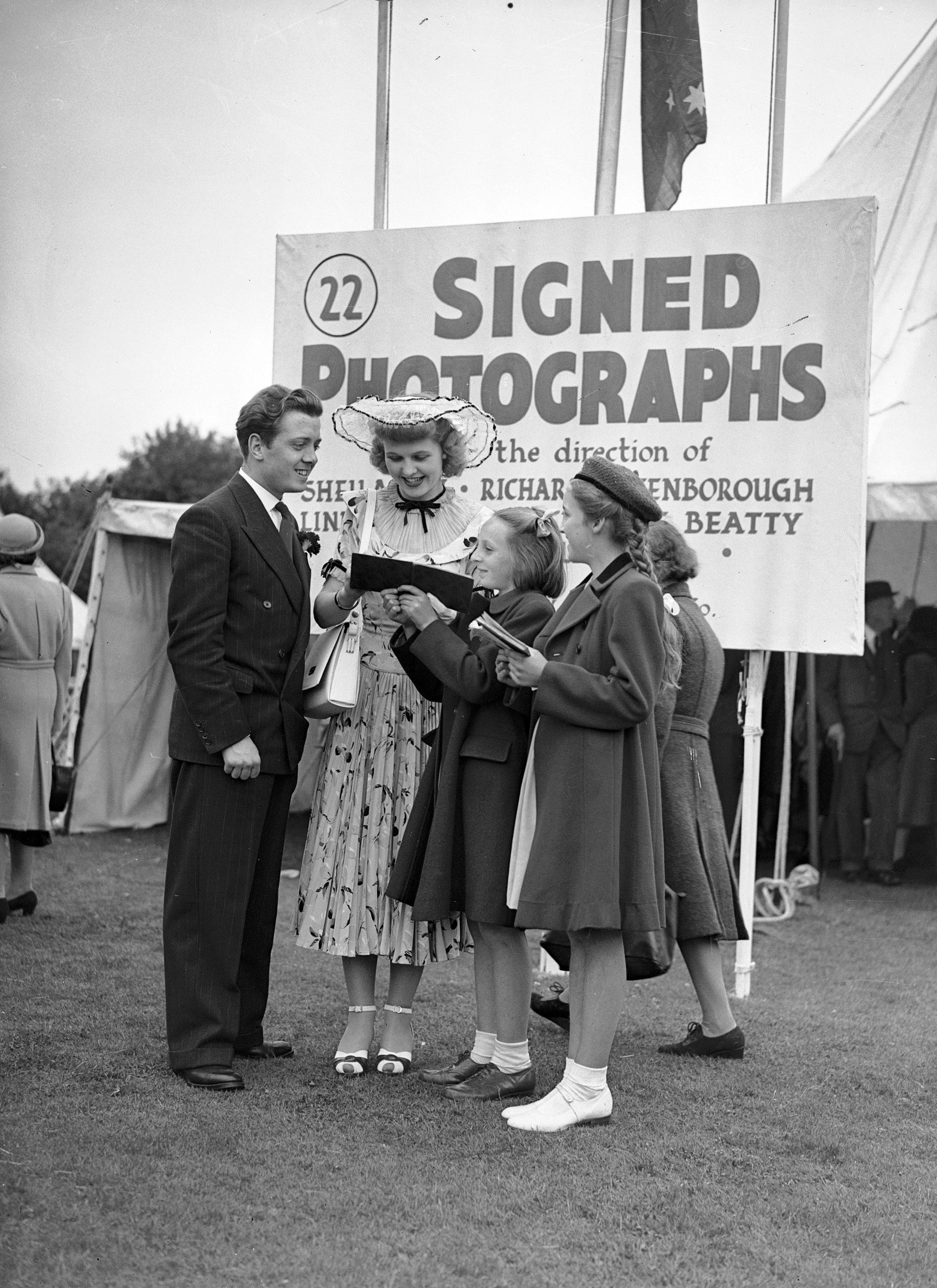 Richard Attenborough and his wife Sheila Sim of three years signing autographs, 1948.