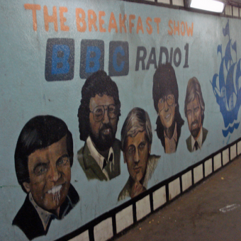 A Cheesy Rogues Gallery of BBC Radio 1 Breakfast Show DJs Painted On A All In White City