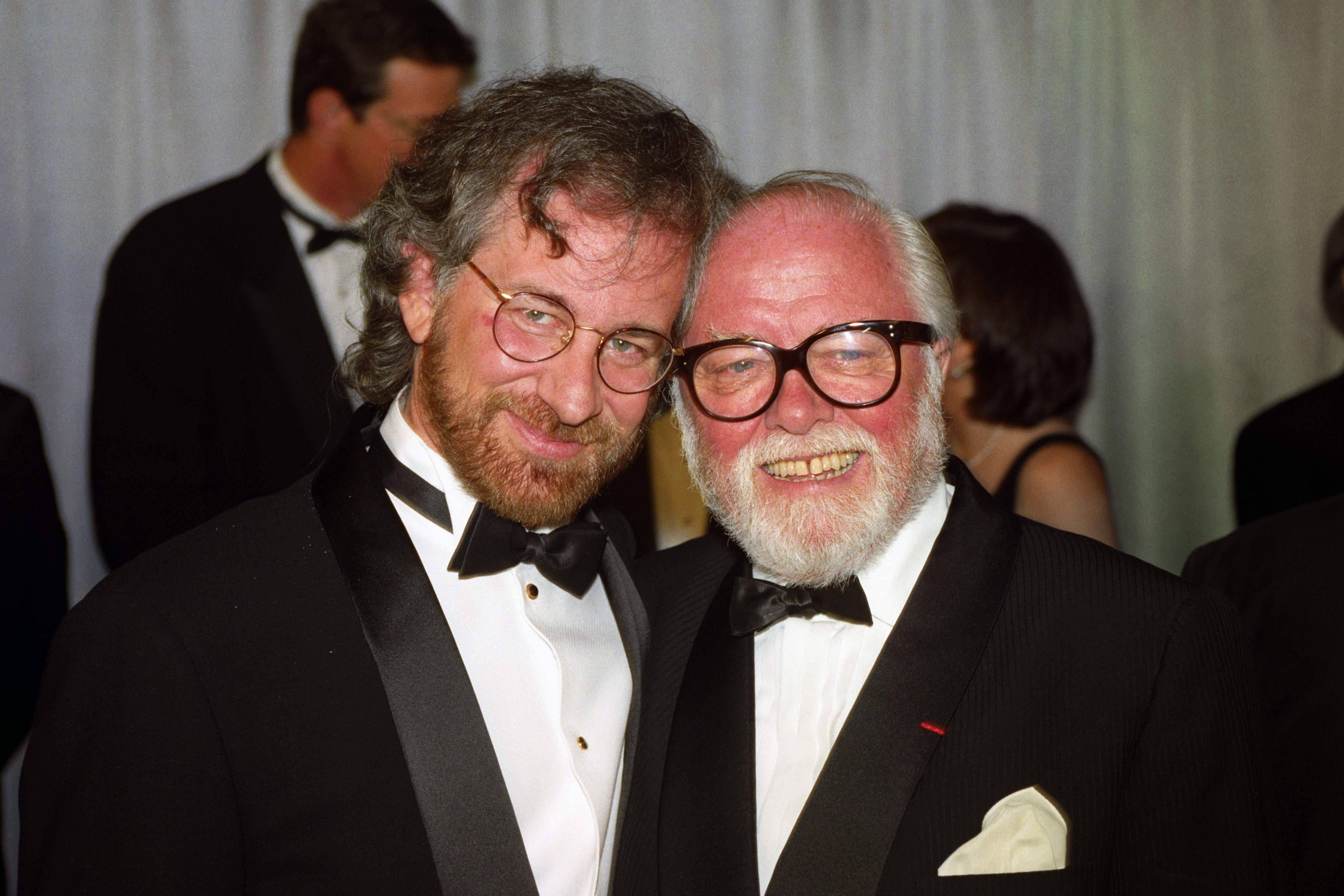 Steven Spielberg and Richard Attenborough at the Premiere for Jurassic Park, 1993.