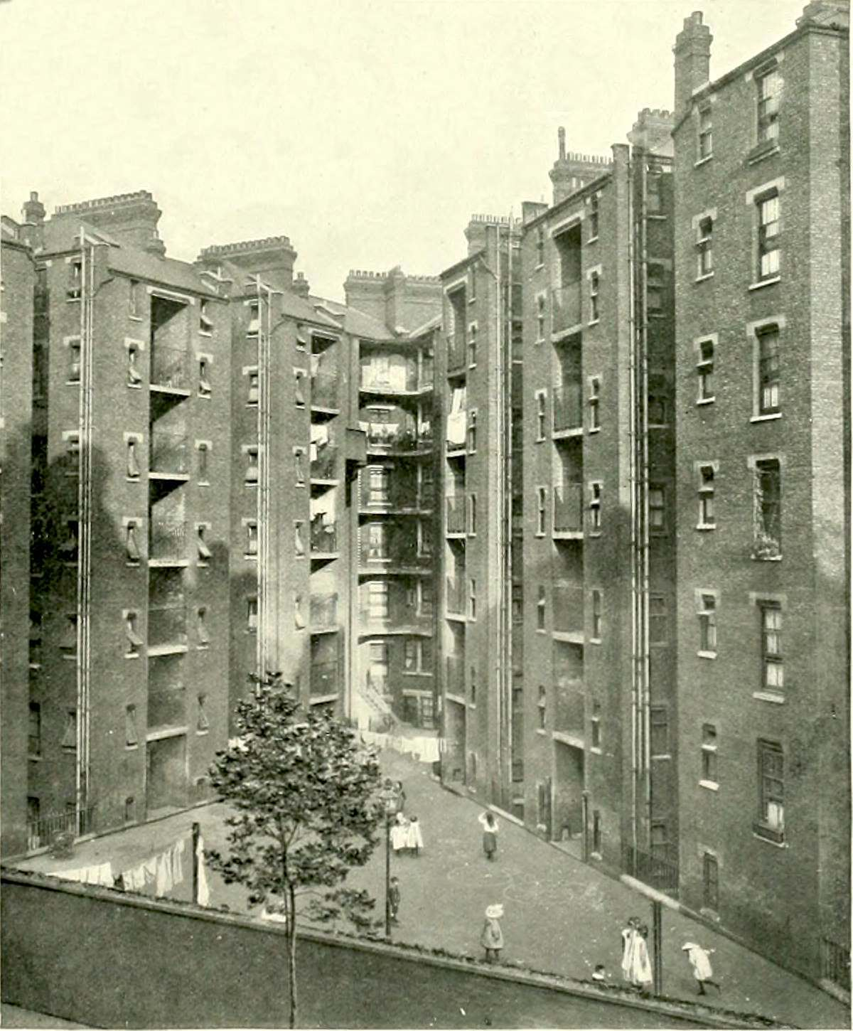 Tenement blocks recently built off the Farringdon Road.