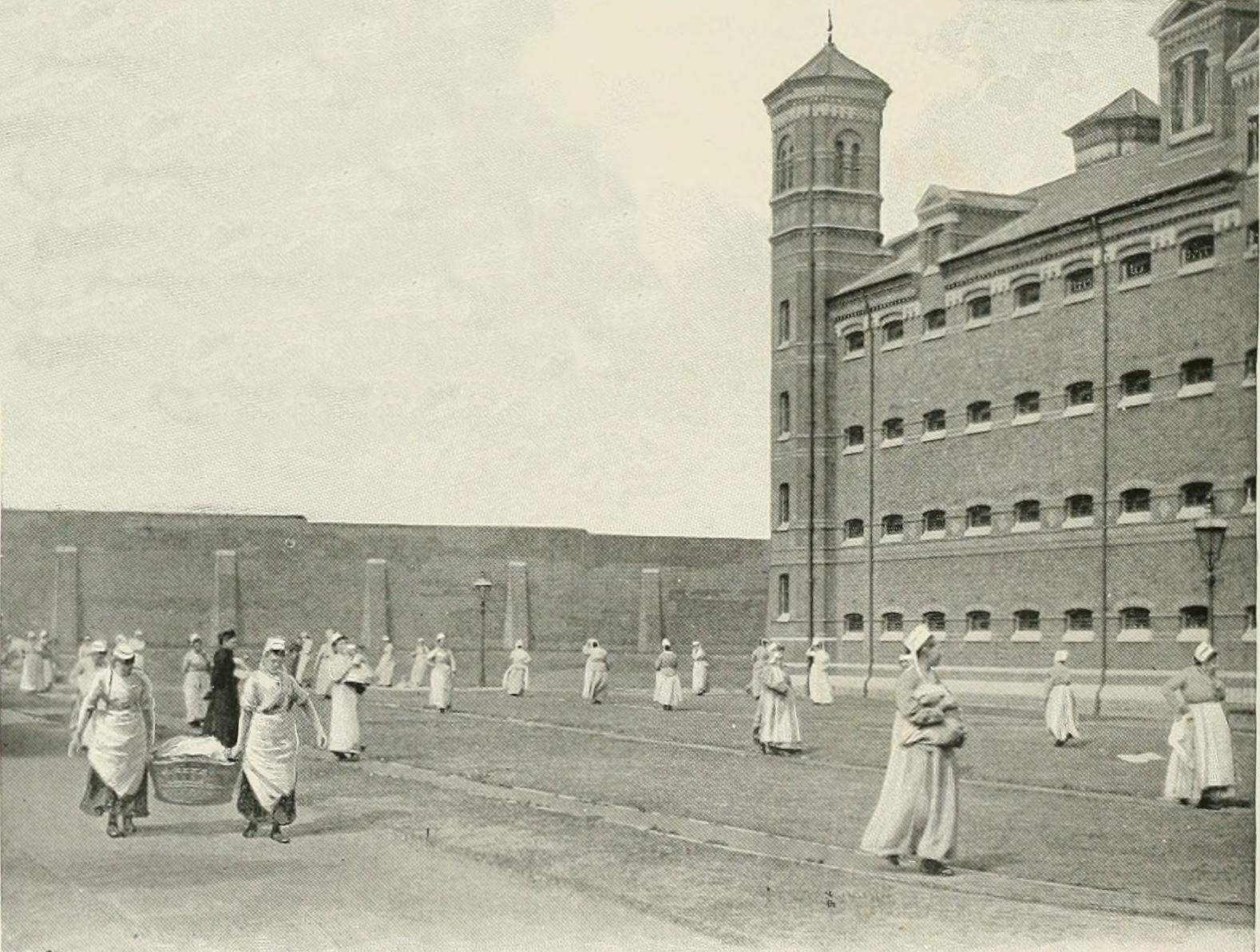 "The ""Baby Parade"" at female part of Wormwood Scrubs Gaol."