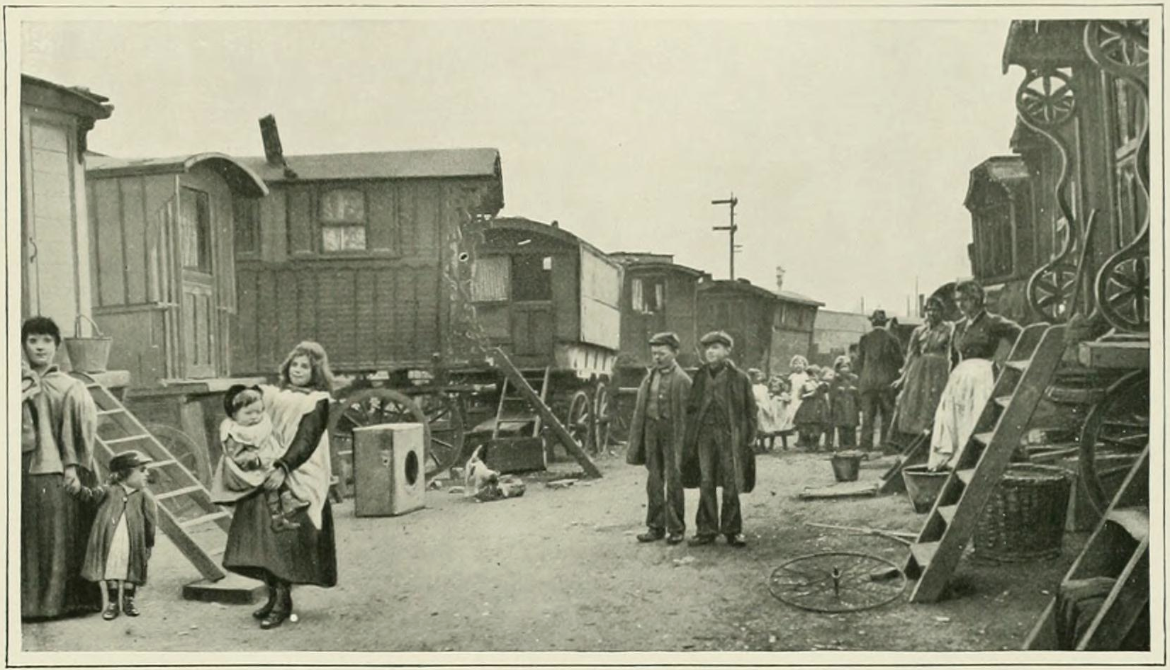 Travellers' encampment in Battersea.