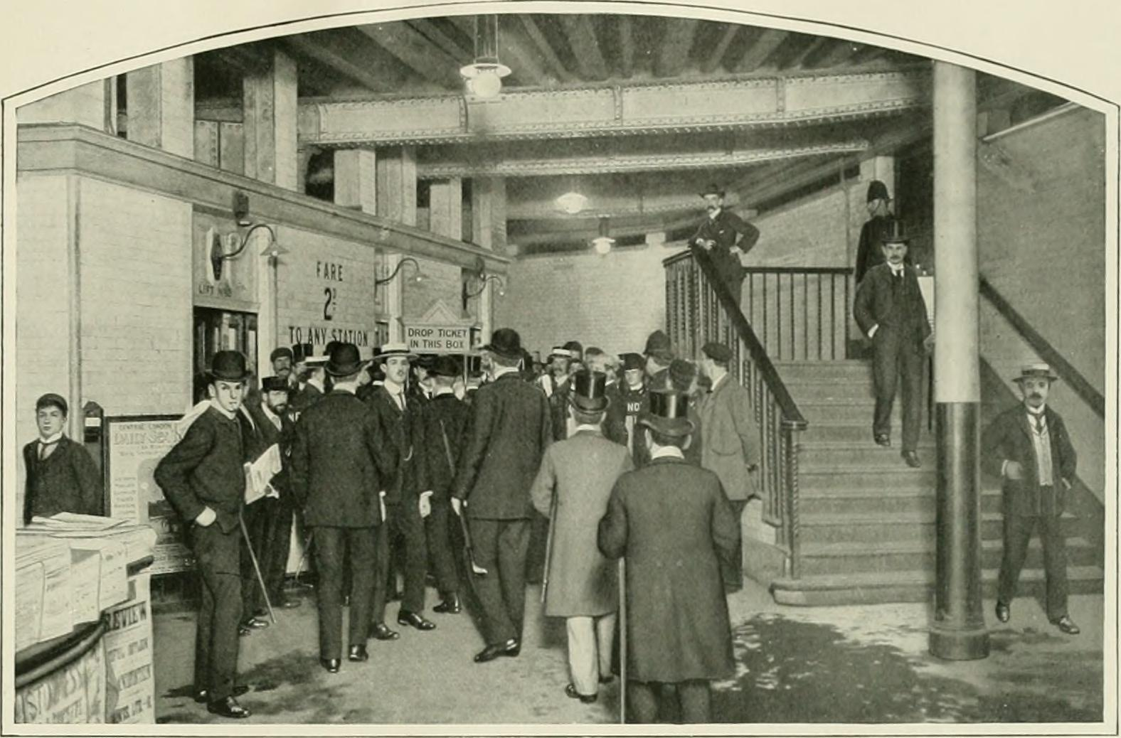 Waiting for the lifts at Bank Underground - Central London Railway 120th anniversary