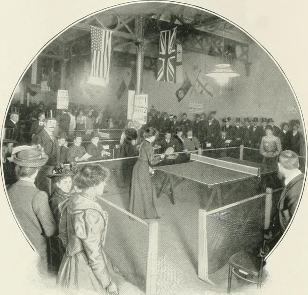 Women's international 'Ping Pong' match at Queen's Hall in Langham Place. The hall was destroyed in the Blitz some forty years later.