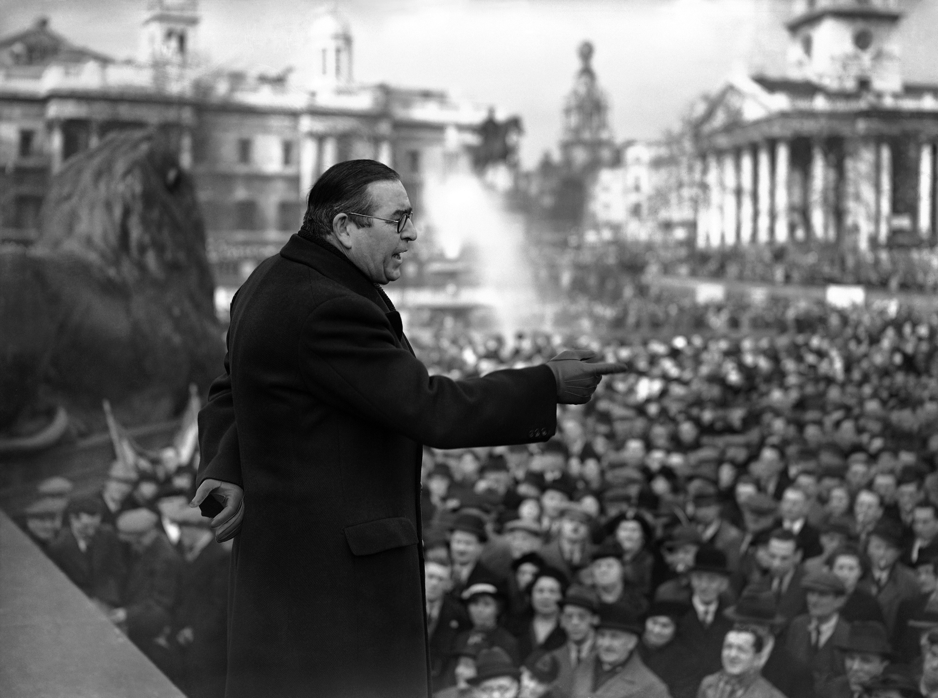Some twenty members of parliament, peers, political candidates and trade union leaders addressed a mass protest demonstration in Trafalgar Square on February 26, against the betrayal of Spanish democracy. Lord Strabolgi addressing the demonstration in Trafalgar Square, London on Feb. 26, 1939.