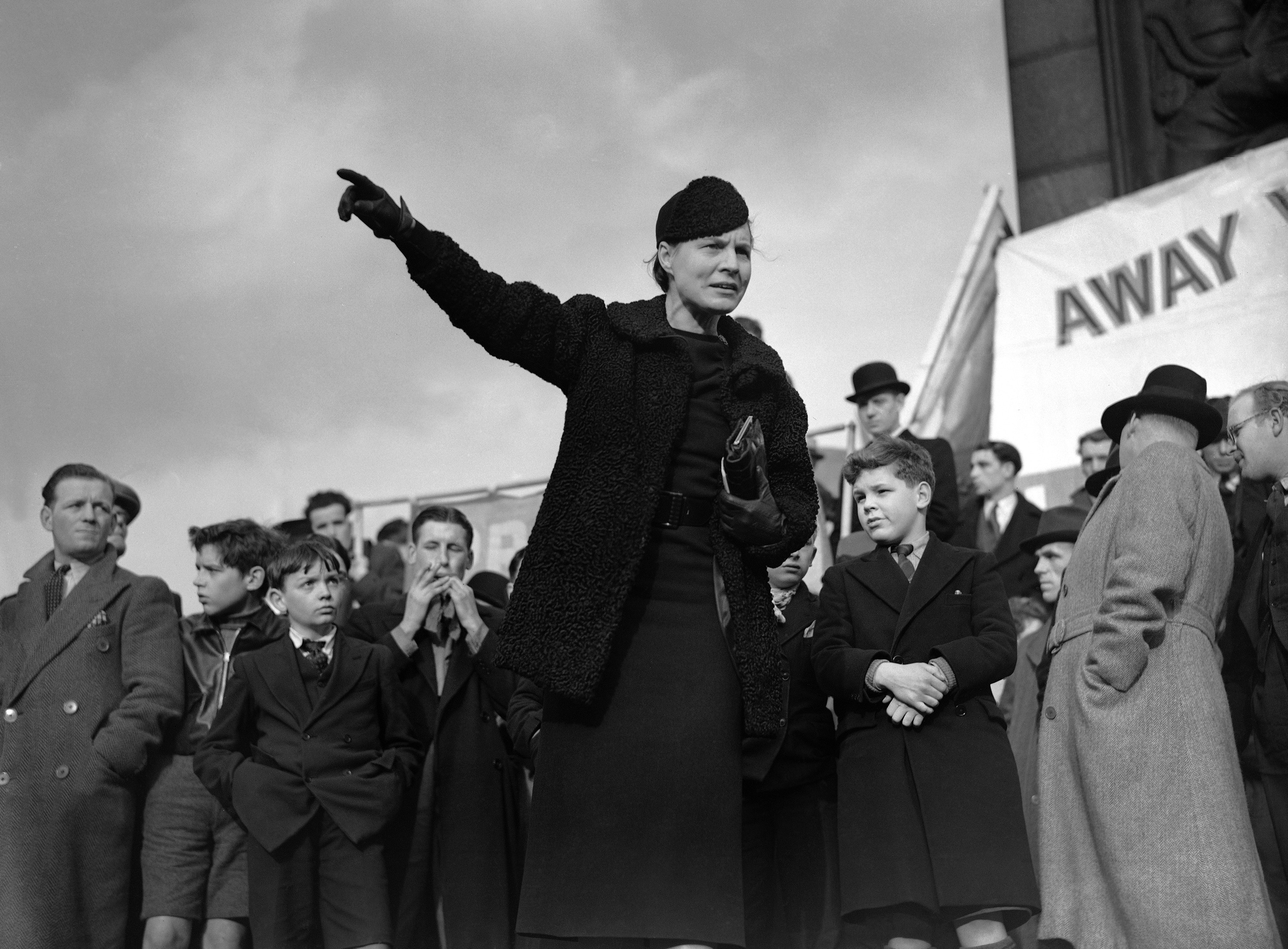 Some twenty members of parliament, peers, political candidates and trade union leaders addressed a master protest demonstration against the betrayal of Spanish democracy in Trafalgar Square on February 26. Dr. Edith Summerskill addressing the demonstration on Feb. 26, 1939 in Trafalgar Square, London.