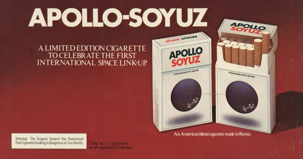 """""""A limited edition cigarette to celebrate the first international space link-up."""""""