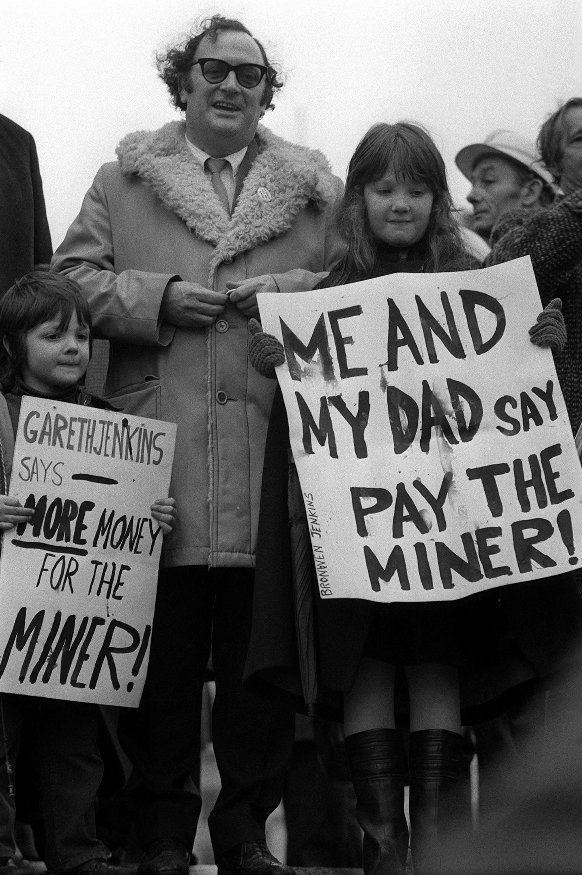 They may not be Union Members, but 5 year old Gareth, left and 8 year old Bronwen supported their Father Mr. Clive Jenkins, of the Association of Scientific Technical and Managerial Staffs when he rallied to the miners' cause in London's Trafalgar Square.