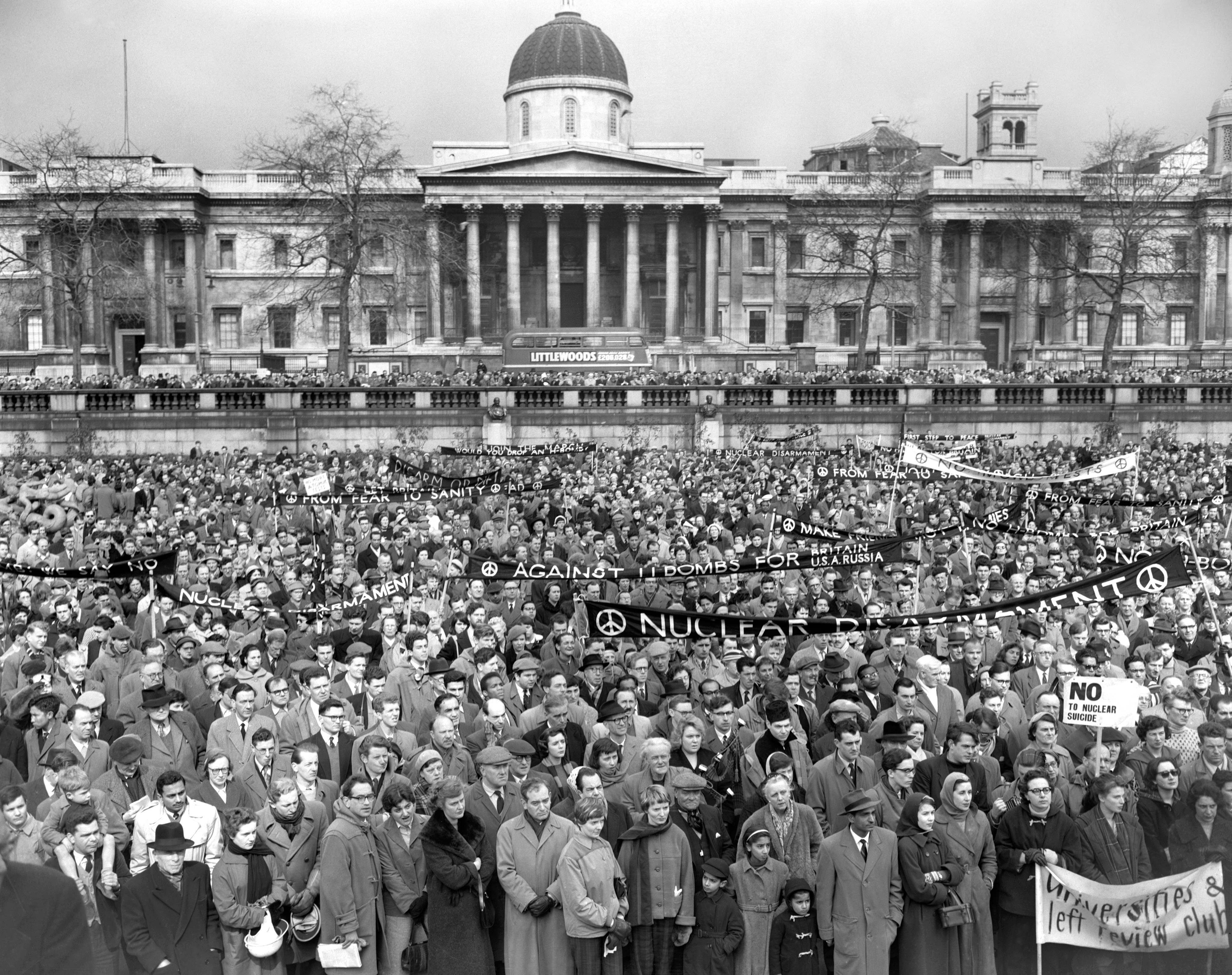 "Anti-nuclear protestors gather in their thousands in Trafalgar Square for the start of the 50 mile protest march from London to the Atomic Weapons Research Establishment at Aldermaston in Berkshire.  The Campaign for Nuclear Disarmament celebrates its fortieth anniversary.  *09/04/04: Police warned of disruption and congestion along the route taken by thousands of people protesting against ""the next generation of nuclear weapons"" being developed in the UK -  and blamed organisers for not co-operating fully with them."