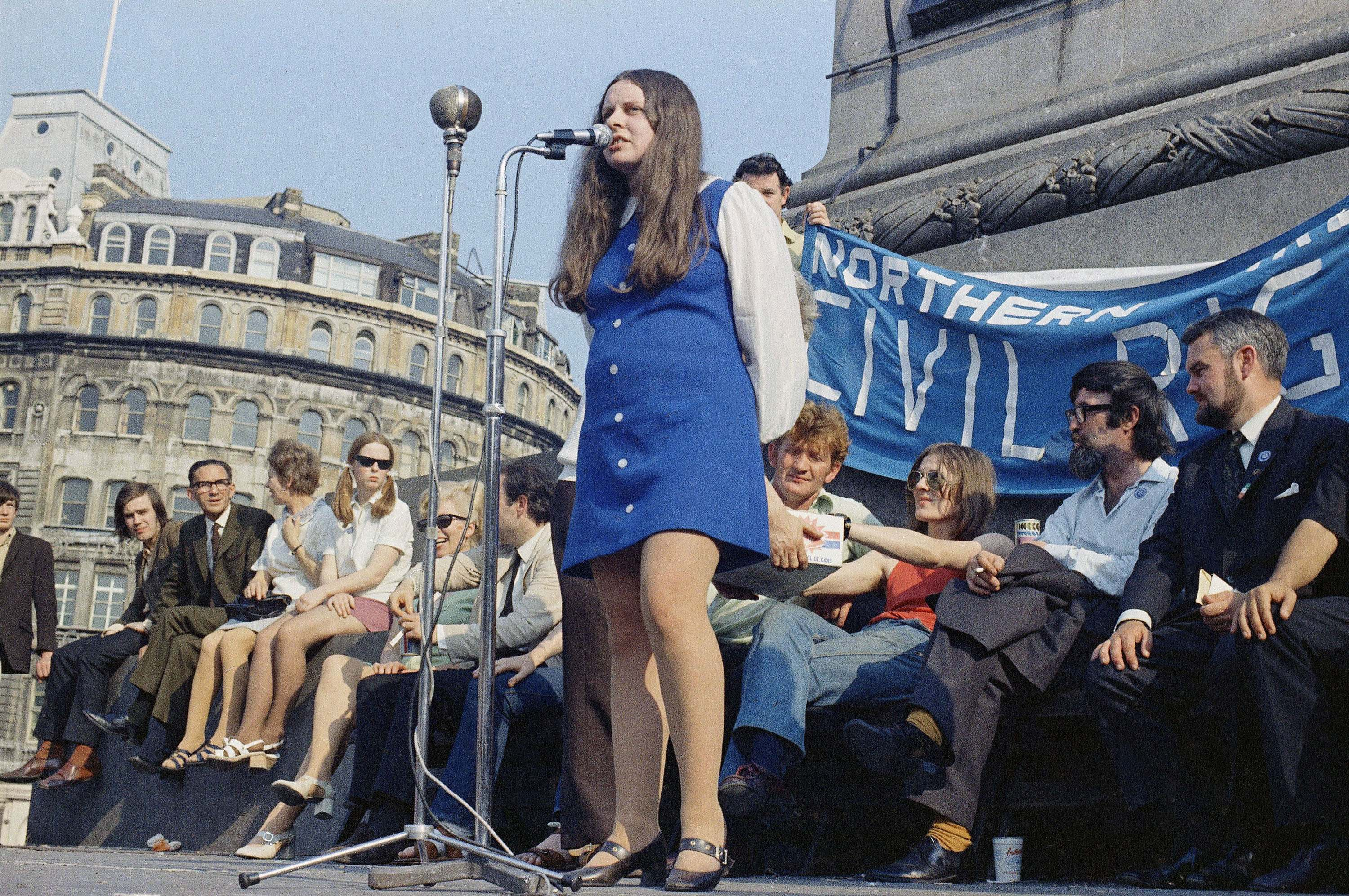 Bernadette Devlin, MP for Mid-Ulster, speaking at a rally in Trafalgar Square, London, on June 1, 1971. (AP Photo)