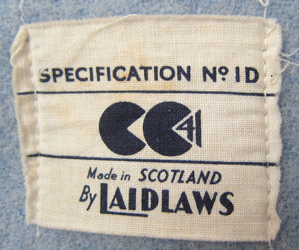 The 'Two Cheeses' Civilian Clothing Utility label c.1944.