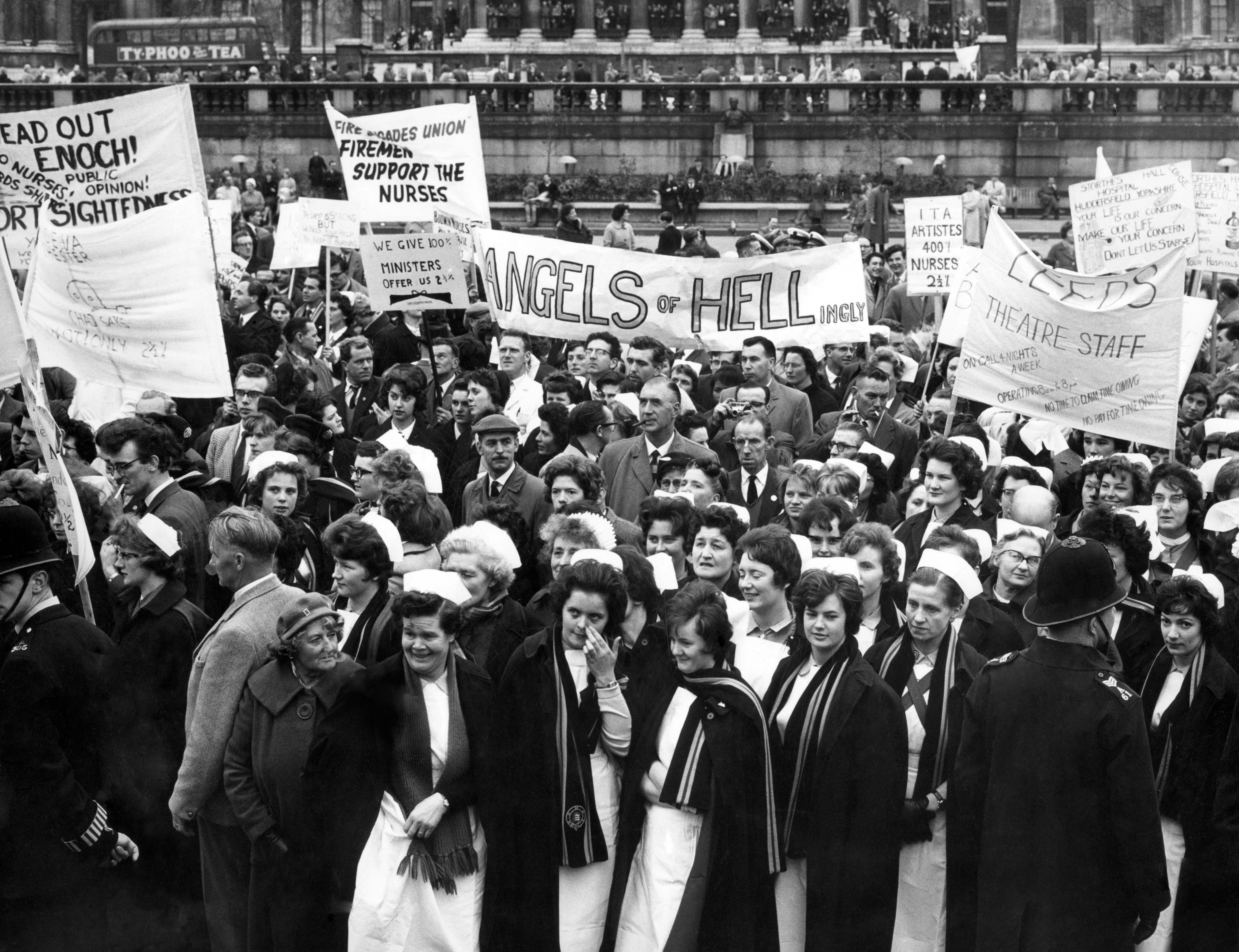Nurses during a mass protest at pay rates. 28th April 1962