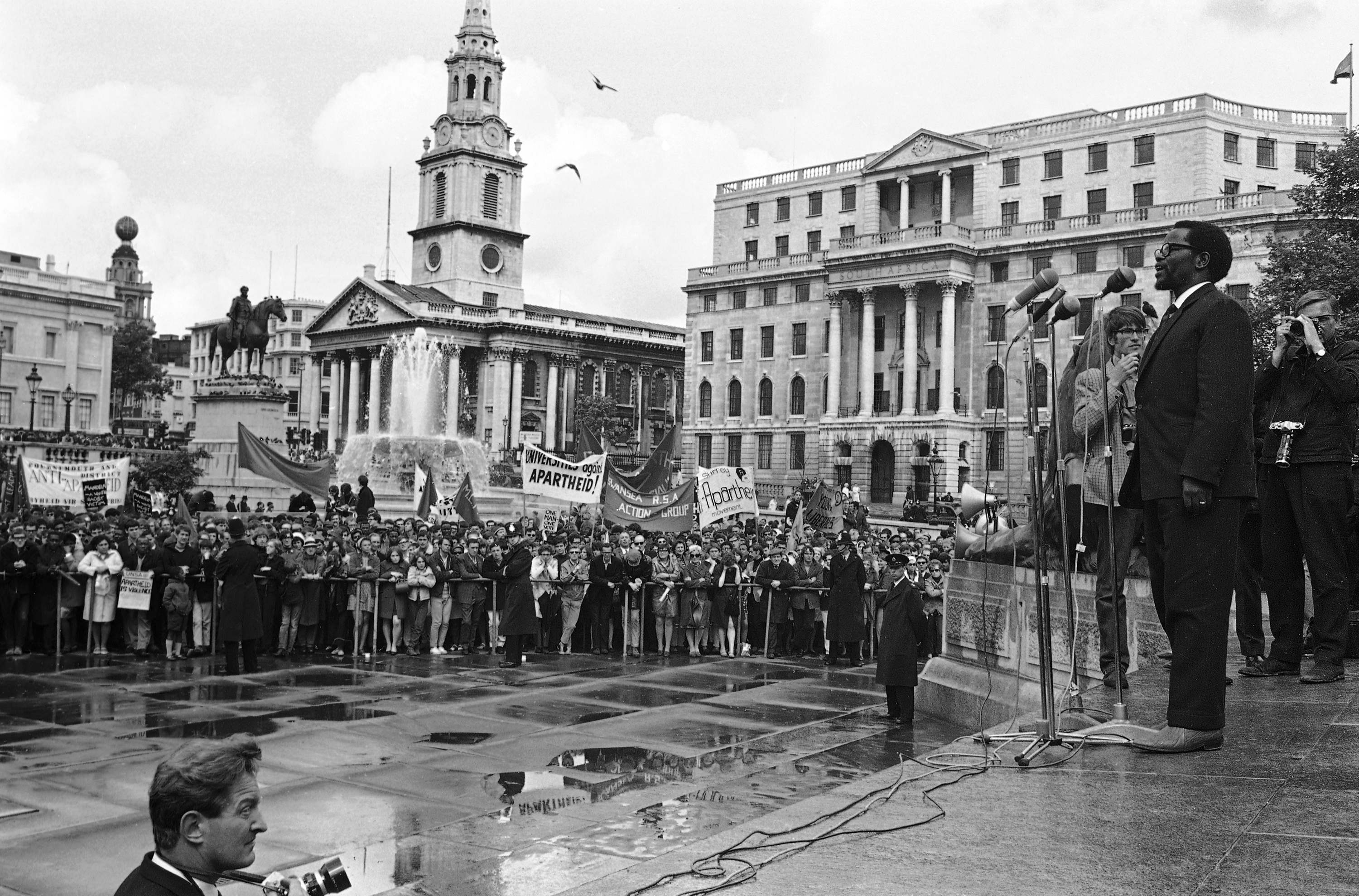 Oliver Tambo, acting President-General of South African Congress of South Africa, as he addresses members attending the anti-apartheid movement's South African Freedom Day Rally, in Trafalgar Square, London, on June 23, 1968. (AP Photo/Kemp)