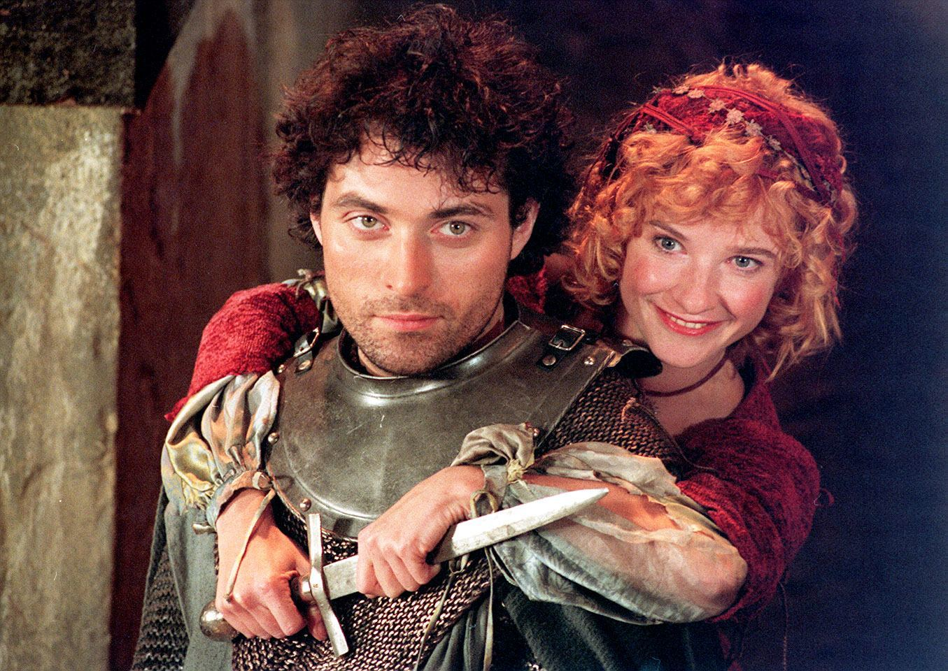 Rufus Sewell as Hotspur and Jane Horrocks as Doll Tearshet  at a London photocall to for the BBC's new adaptation of Shakespeare's Henry IV. The play, which has been adatpted for TV by John Caird, wil be shown on BBC 2 at a date to be announced this autumn. 09/08/1995