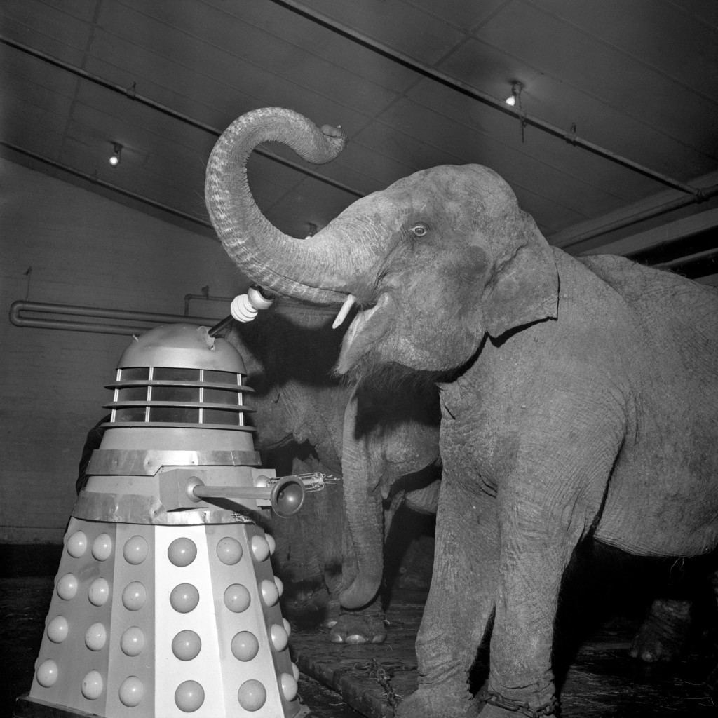 "Television - BBC TV - Dr Who - Belle Vue Circus, Manchester The Daleks of the BBC television series ""Dr Who"" take to the ring with elephants at Belle Vue circus. Date: 26/01/1965"