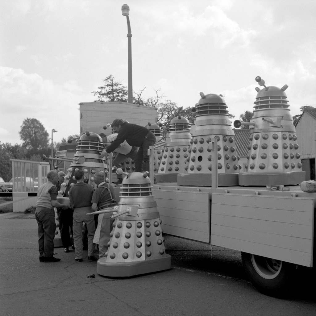 """A lorry-load of Daleks at Shepperton Studios, near London, before leaving by Dover en route for the Cannes Film Festival. They are the stars in """"Dr Who and the Daleks"""". Ref #: PA.10285765 Date: 17/05/1965"""