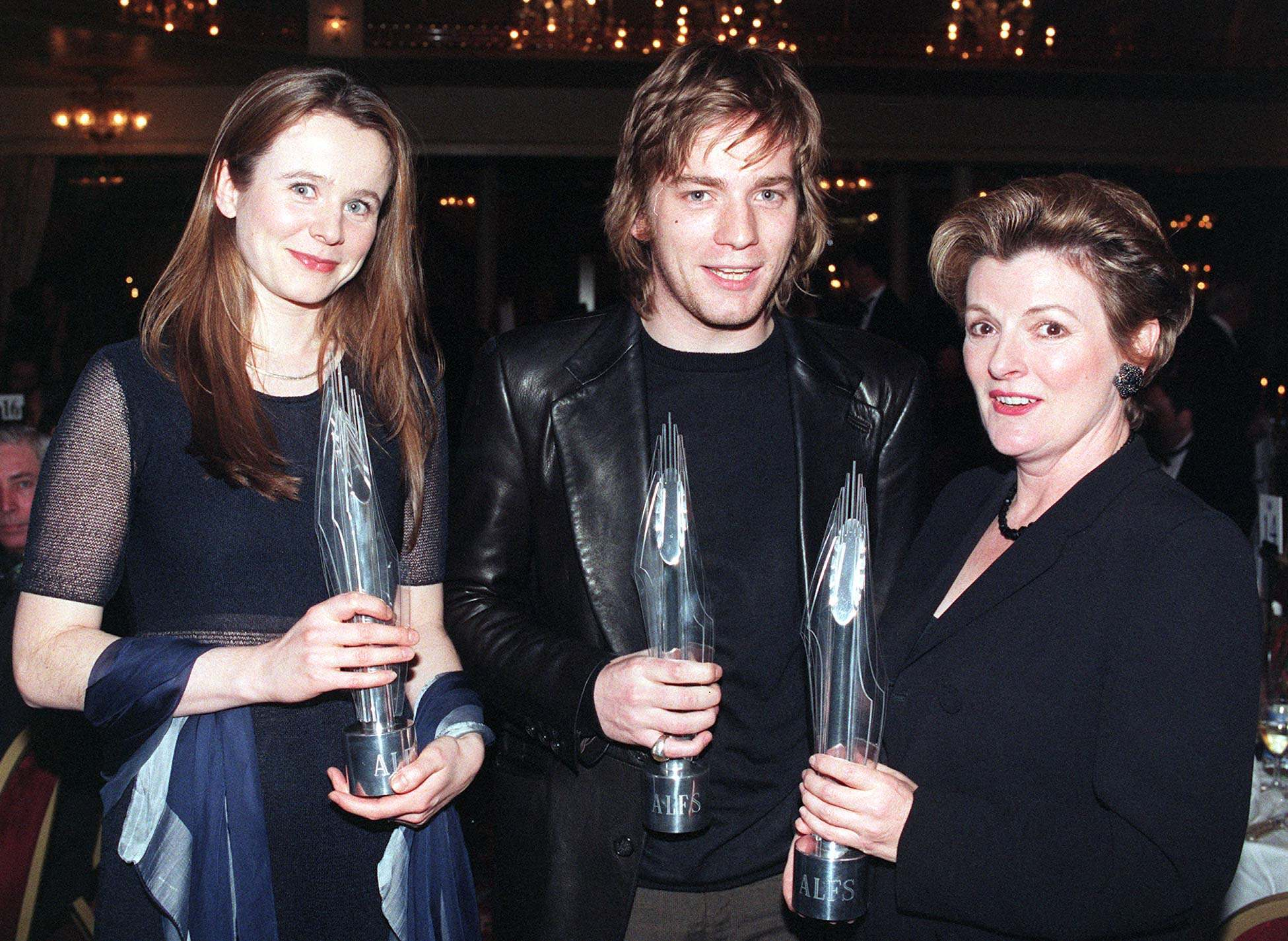 (L-R) Emily Watson, Ewan McGregor and Brenda Blethyn celebrating with their awards at the 1996 London Film Critics Circle Awards this evening (Sunday). Watson took the British Newcomer of the Year, McGregor took Best Actor, and Blethyn won the Best Actress award. 02/03/1997