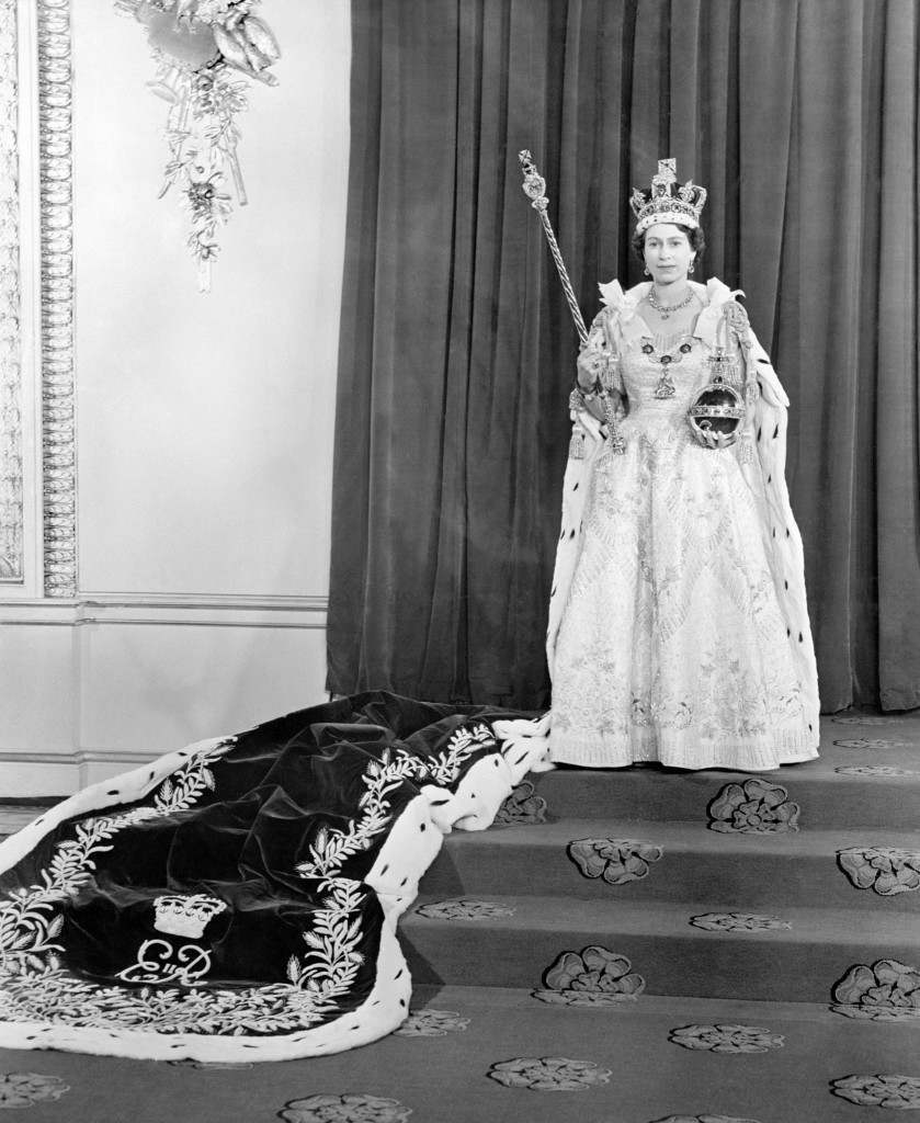 Queen Elizabeth II wearing the Imperial State Crown, taken in the Throne room at Buckingham Palace, after her Coronation in Westminster Abbey. June 2, 1953