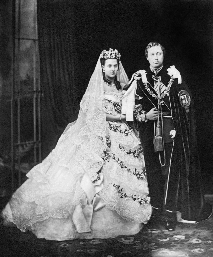 Edward, Prince of Wales (later King Edward VII), and his bride, Princess Alexandra of Denmark, after their wedding. Date: 10/03/1863