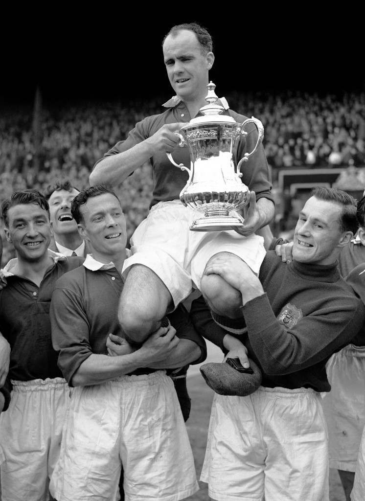 anchester United captain Johnny Carey is carried on the shoulders of his teammates, after they win the FA Cup final of 1948 against Blackpool. Ref #: PA.1186542 Date: 24/04/1948
