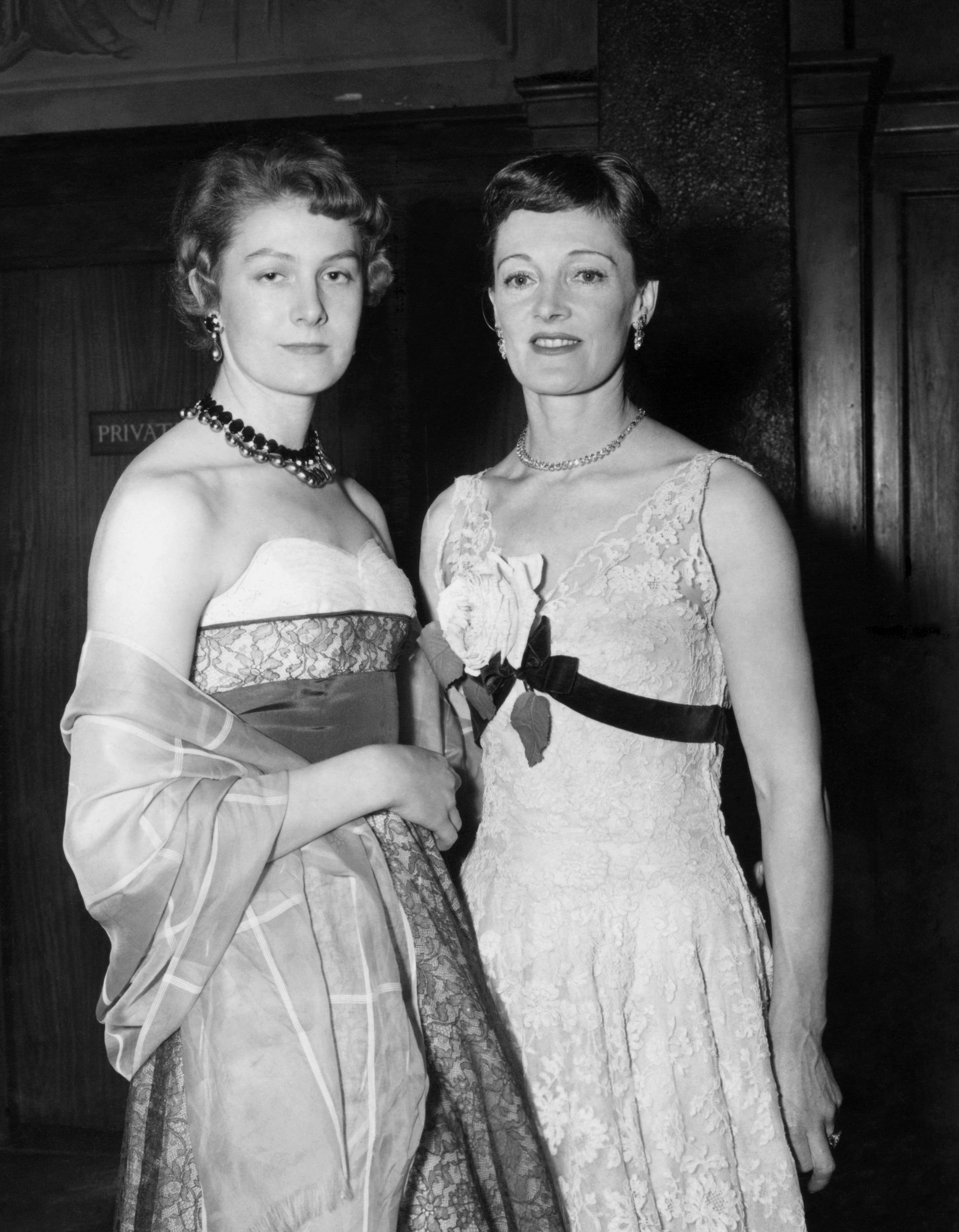 Rachel Kempson, actress wife of actor Michael Redgrave, right, and their daughter Vanessa Redgrave, at the premiere of the film 'The Night My Number Came Up' - in which Michael stars - at the Leicester Square Theatre, London. 24/03/1955