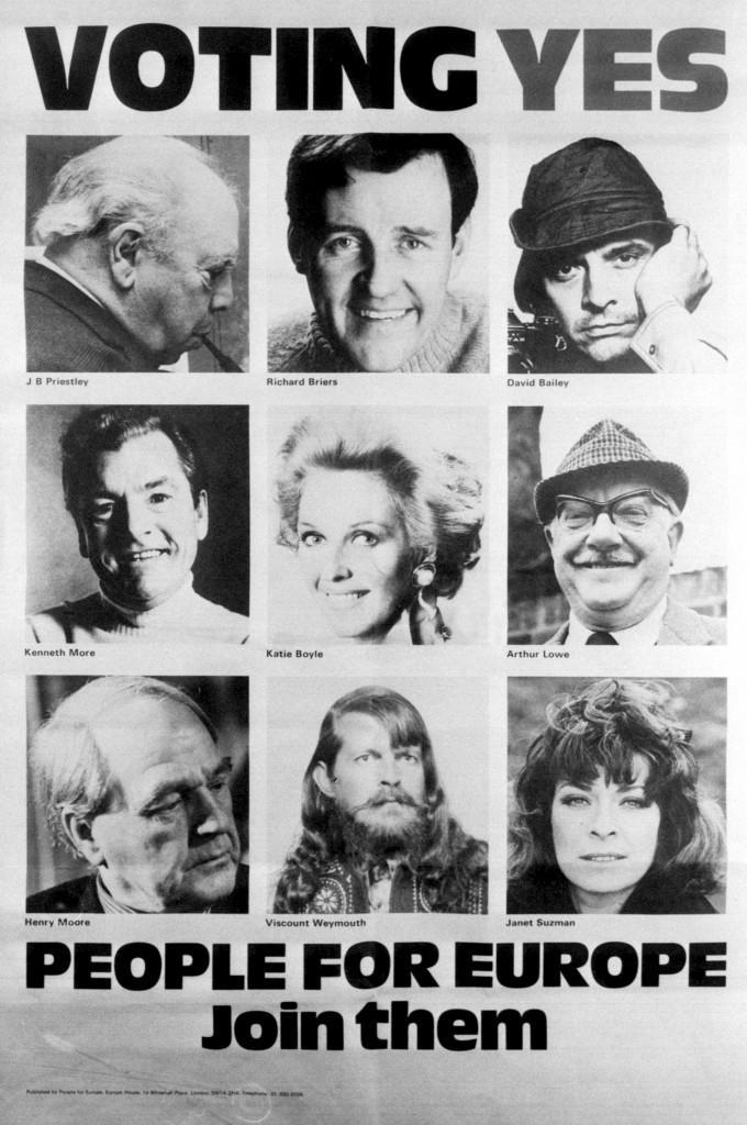 A host of celebrities appear in a National poster campaign, which reads 'Voting Yes People For Europe', launched by People for Europe, a non-party-political campaign to keep Britain in the EEC. May 1975.