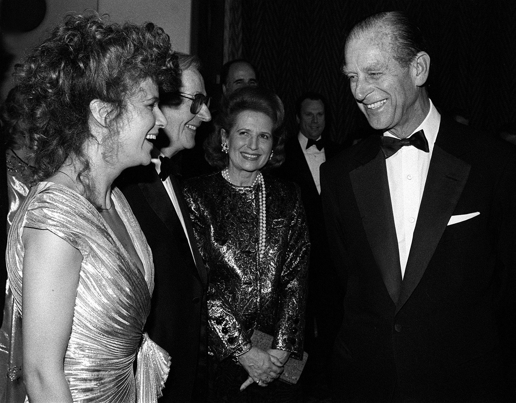 Prince Philip talking to the star of Educating Rita, Julie Walters, when he attended the film's premiere in London. 03/05/1983