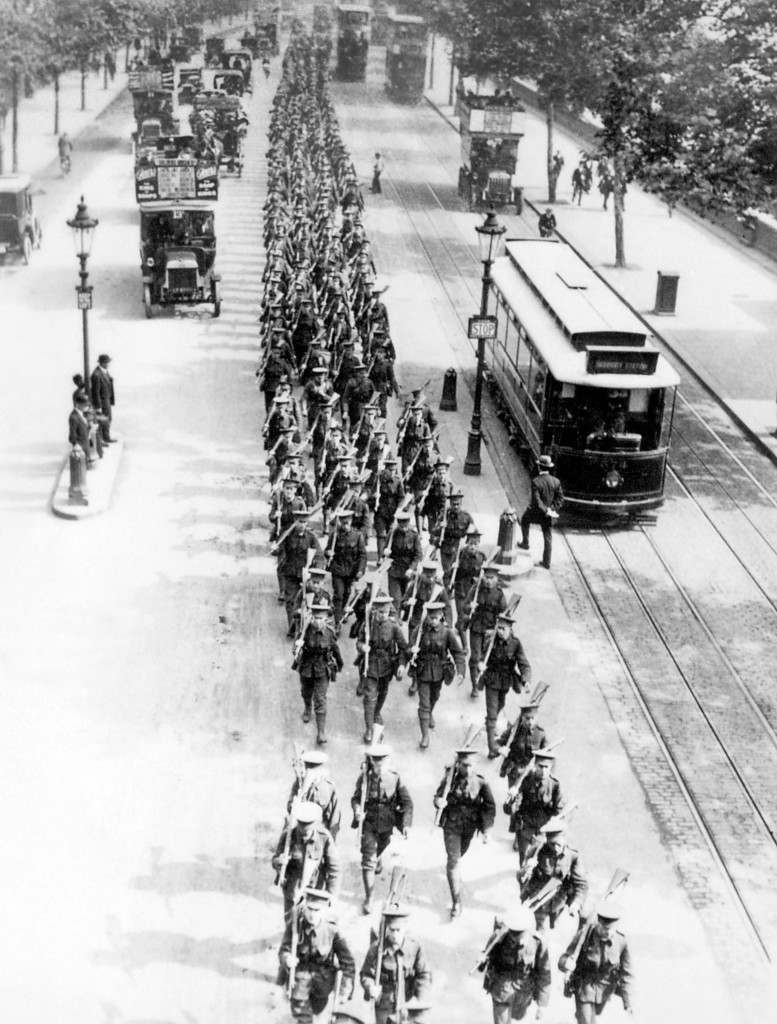 British infantry march along the Victoria Embankment in 1914.