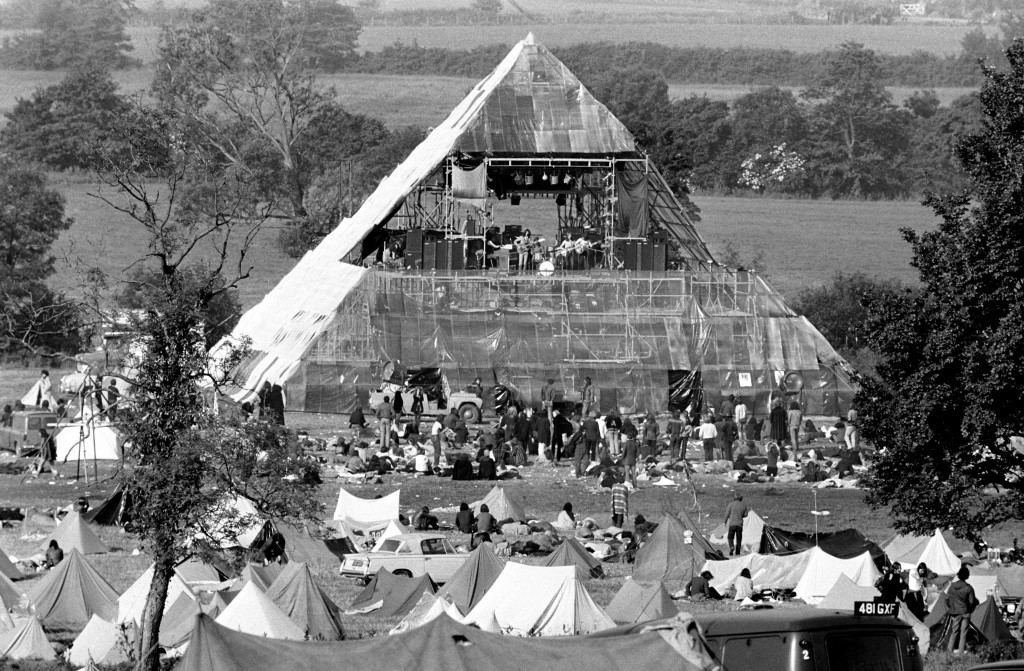 A plastic pyramid shelters the dais and is surrounded by smaller tents of participants at Worthy farm, Pilton, for the Glastonbury festival. 23/06/1971 Picture by: PA/PA Archive/Press Association Images Image Size: 6500x4263