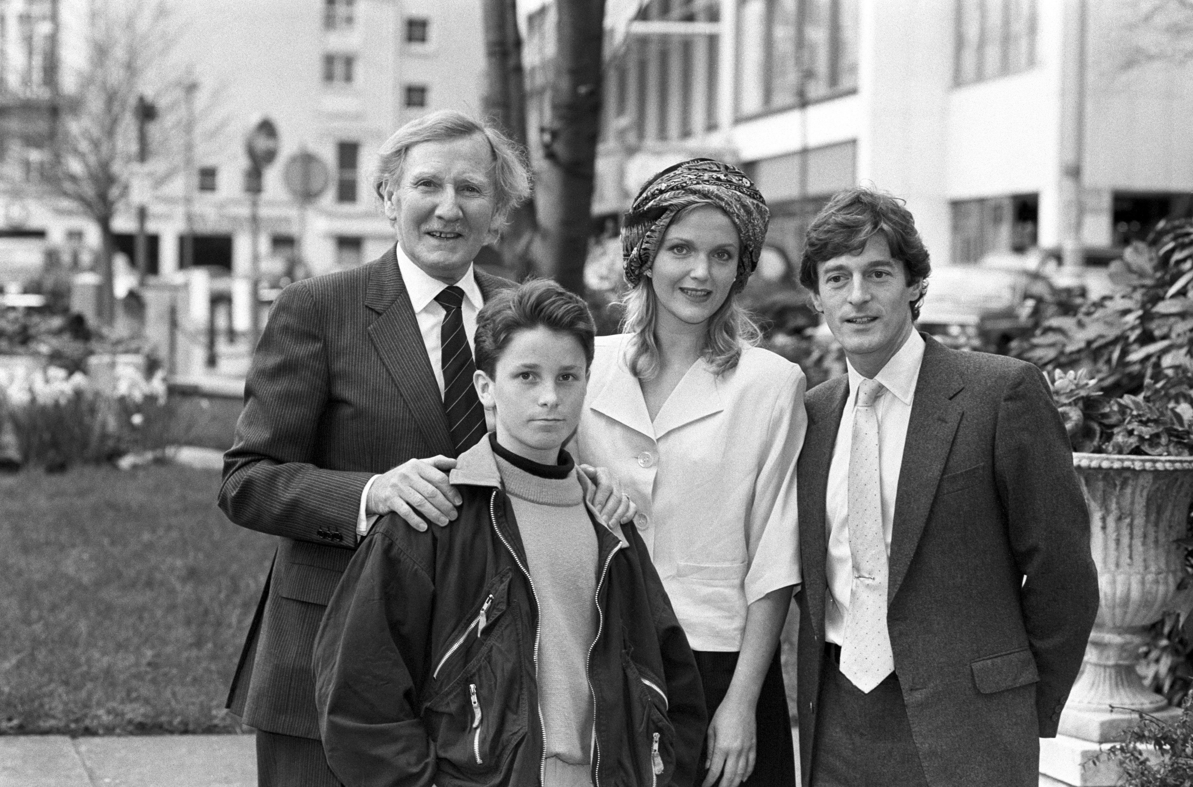 Stars of Steven Spielberg's film Empire of the Sun meet in London before tomorrow night's Royal Film Performance attended by the Queen. (l-r) Leslie Phillips, Christian Bale, 14, Miranda Richardson and Nigel Havers. 20/03/1988
