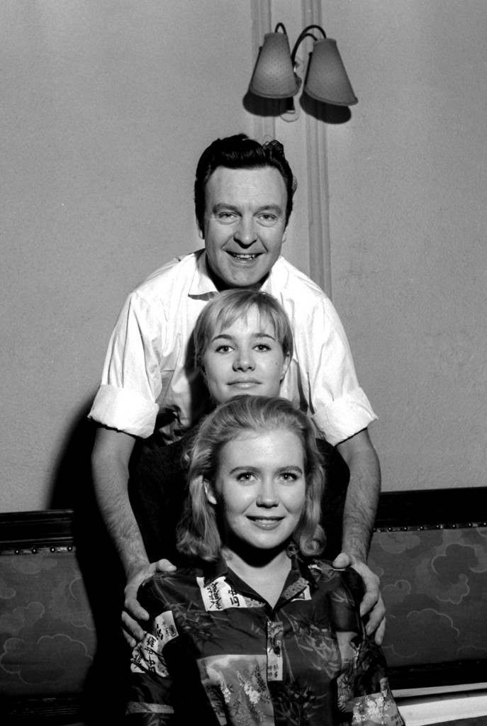 Julia Lockwood, who is playing Peter Pan for the second year running, is pictured at the Scala Theatre, London, with two newcomers. They are Juliet Mills (foreground), who is to play Wendy, and Donald Sinden, who is playing Captain Hook. Date: 21/11/1960
