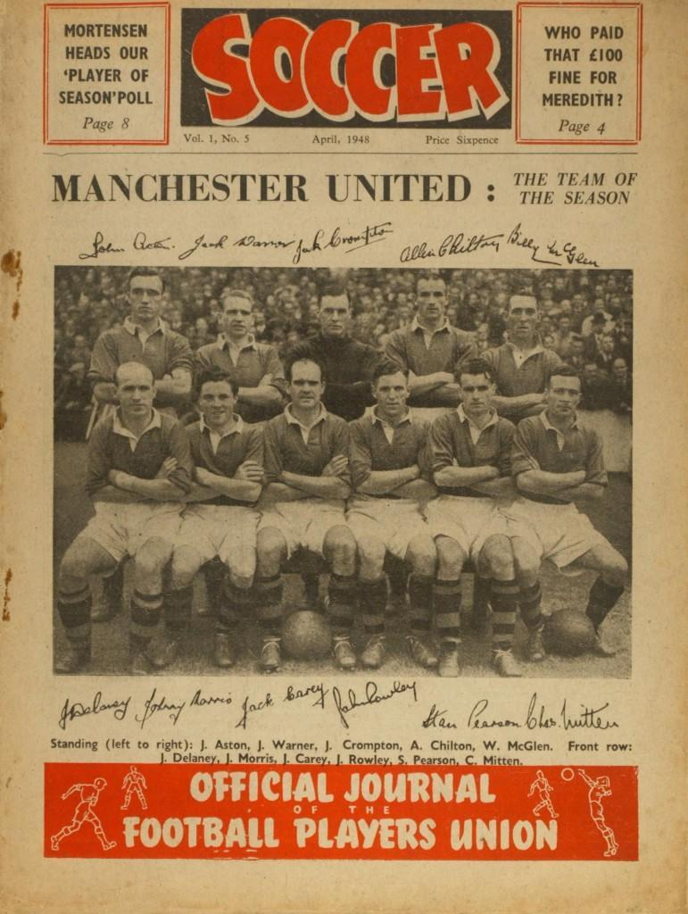 The front cover of Soccer magazine, April 1948, featuring the Manchester United team Ref #: PA.515731 Date: 01/04/1948