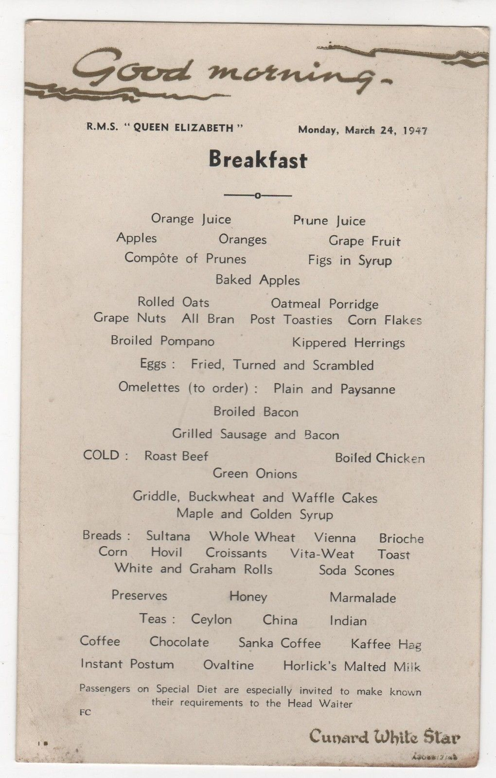 Breakfast menu on the RMS Queen Elizabeth in 1947.