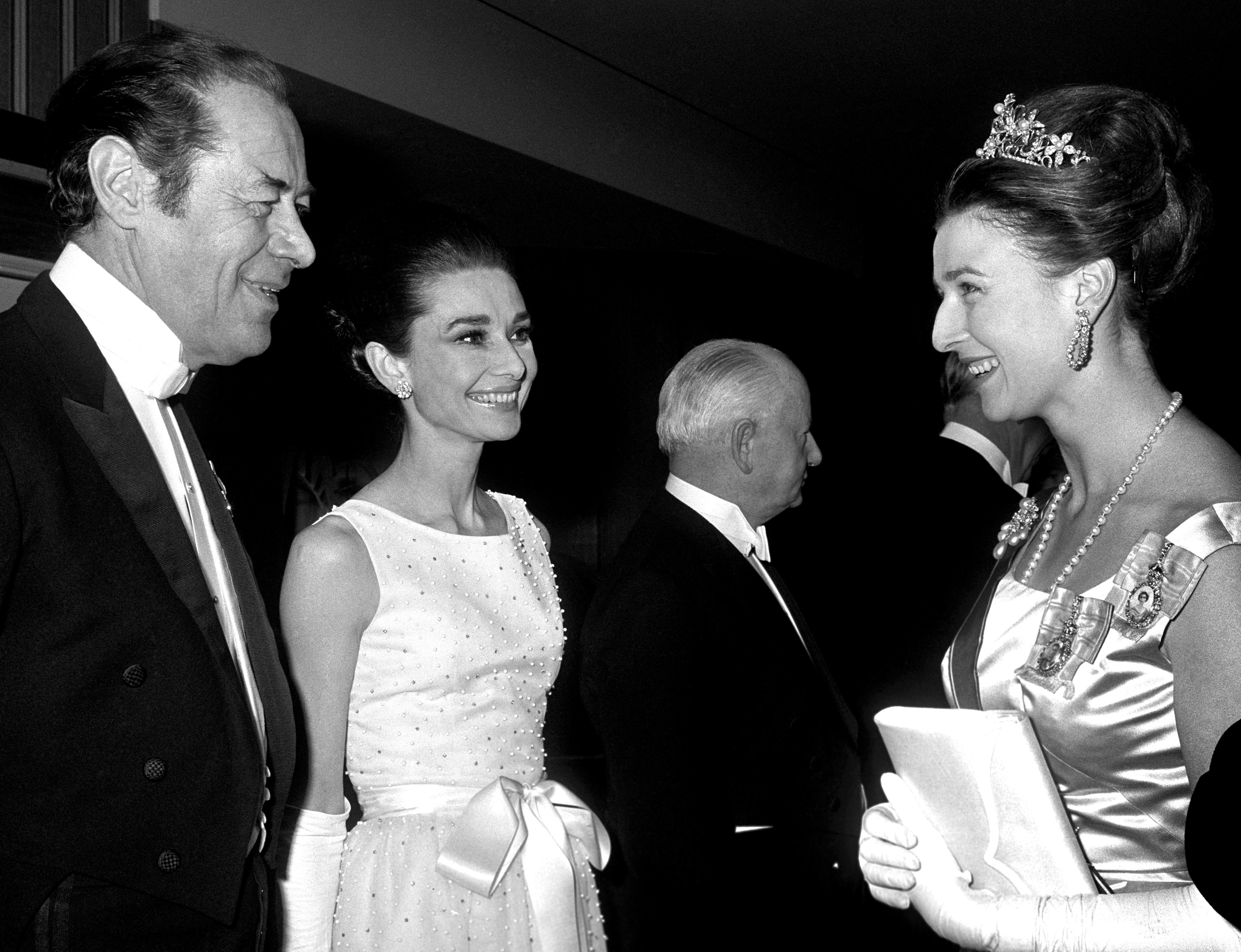 Rex Harrison and Audry Hepburn meet Princess Alexandra at the London premiere of My Fair Lady, January 1965.