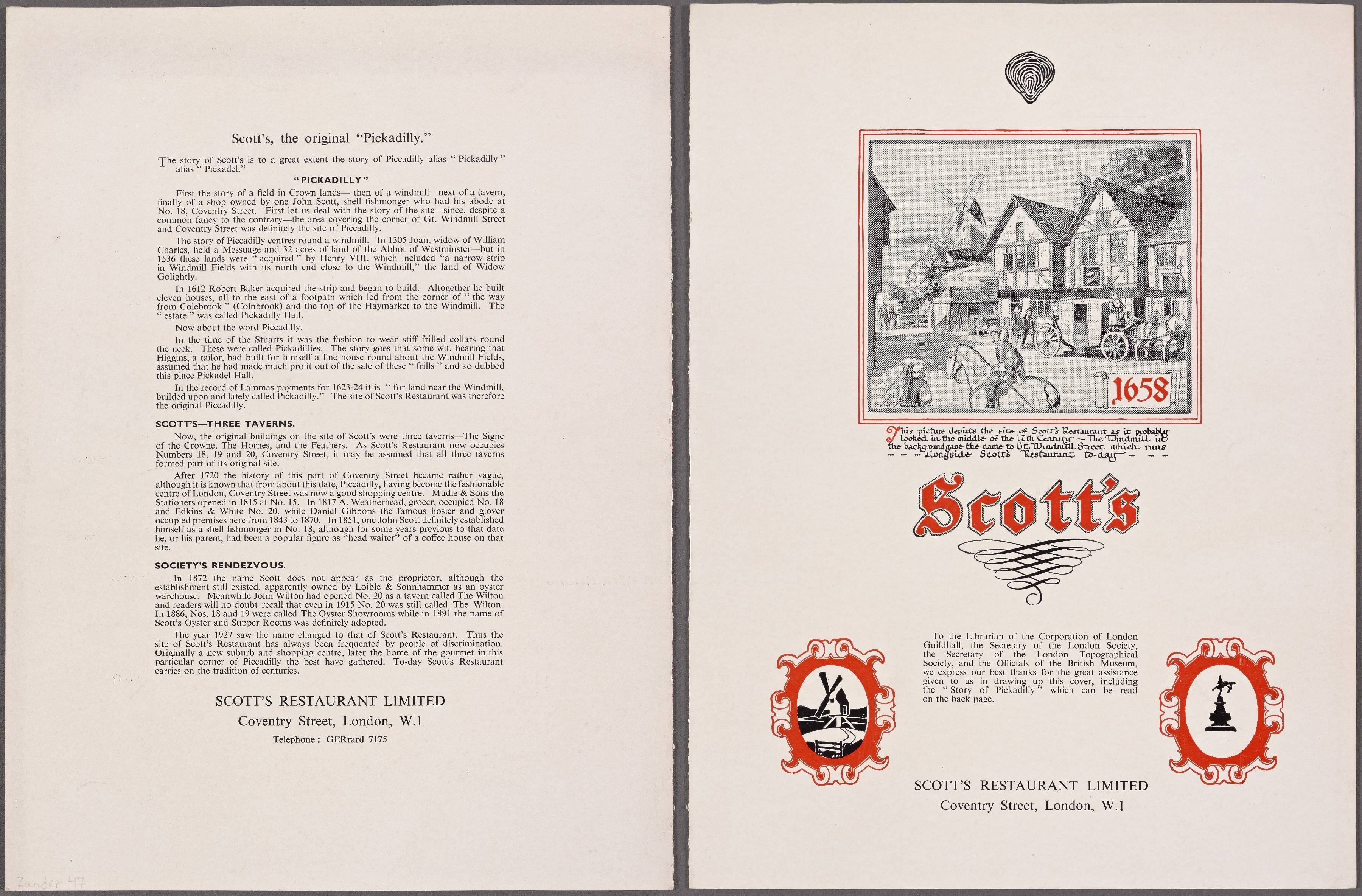 The back and front cover of Scott's Restaurant's menu dated 1961.