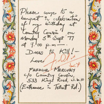 September 5 1977: Freddie Mercury's Invitation To His Birthday Party At Country Cousin